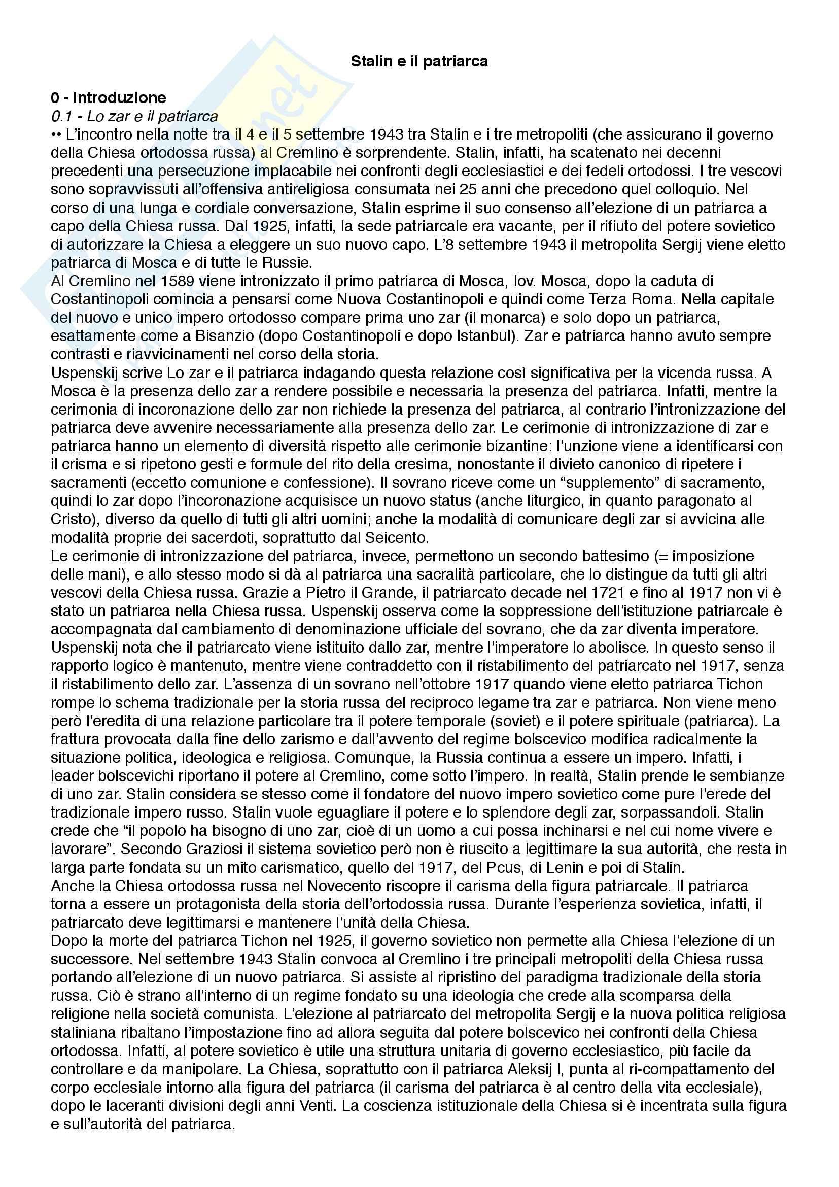 Riassunto esame Istituzioni di storia contemporanea, prof. Roccucci, libro consigliato Stalin e il patriarca, Roccucci
