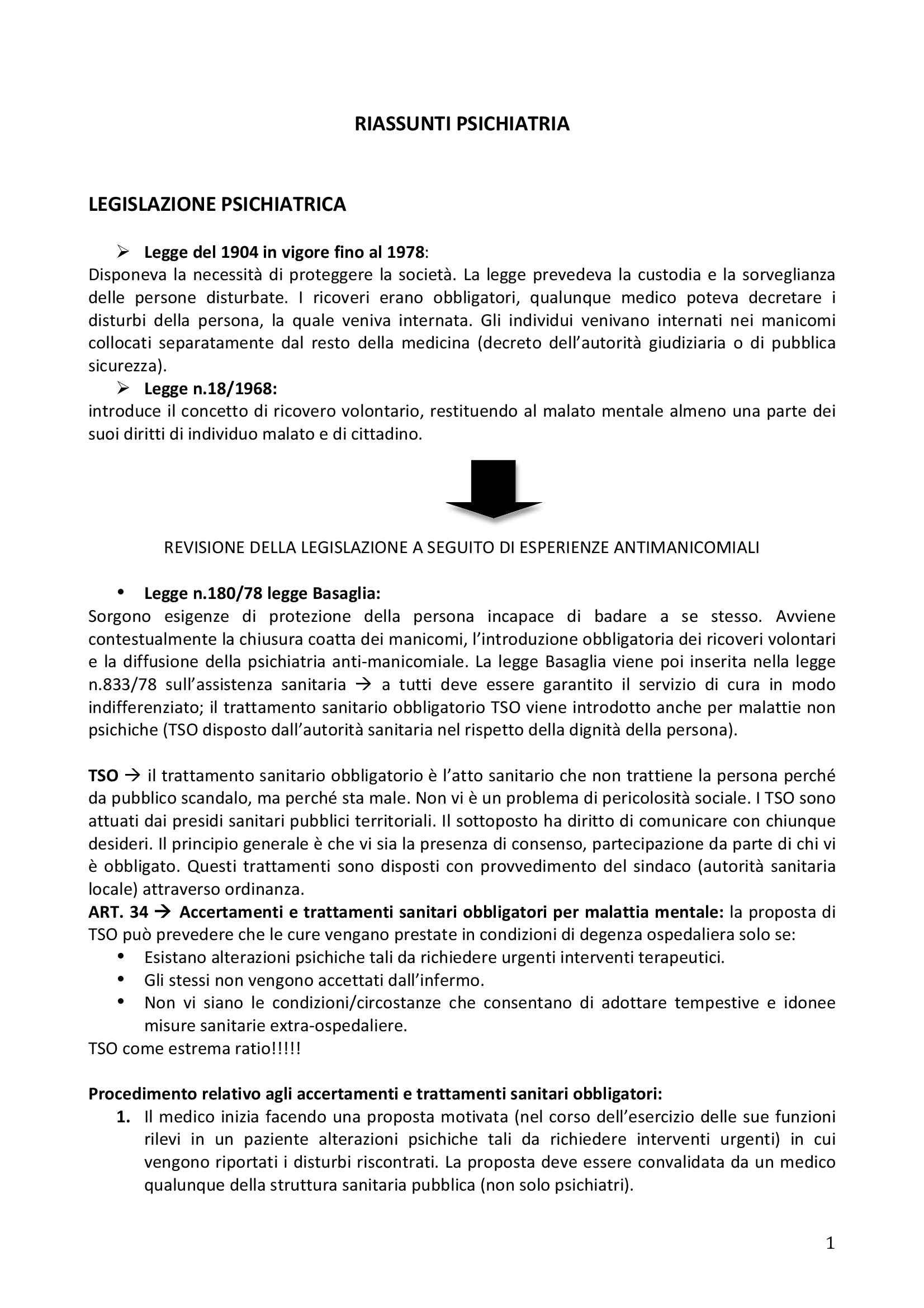 Riassunto esame Elementi di Psichiatria, prof. Ruo, libro consigliato Manuale di Psichiatria, Giberti, Rossi