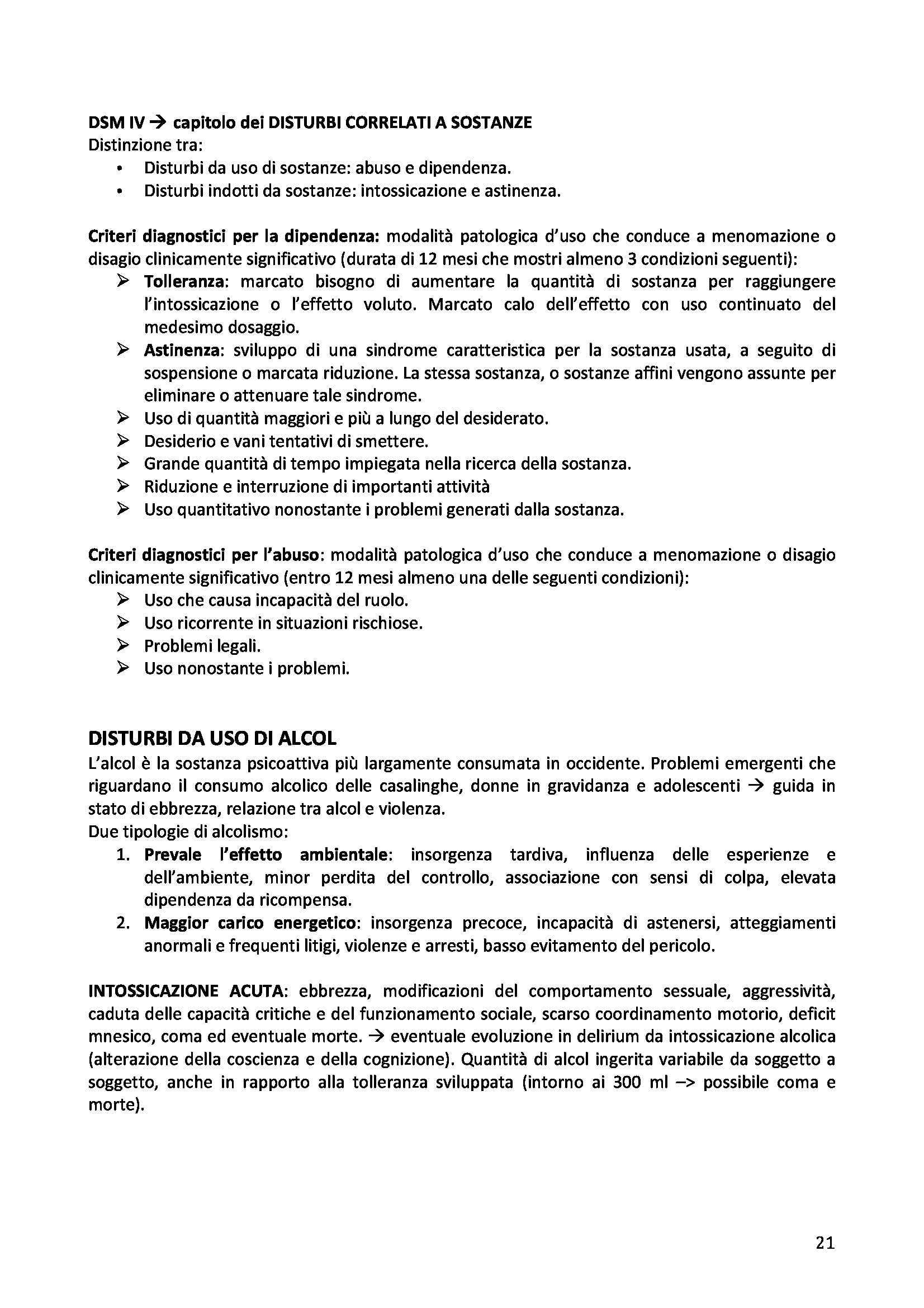 Riassunto esame Elementi di Psichiatria, prof. Ruo, libro consigliato Manuale di Psichiatria, Giberti, Rossi Pag. 21