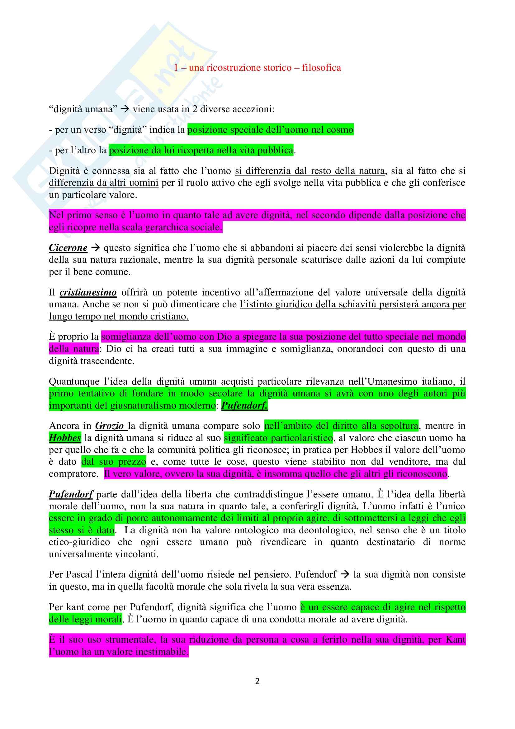 Riassunto esame Filosofia del Diritto Privato, prof. Becchi, libro consigliato Il Principio di Dignità Umana Pag. 1