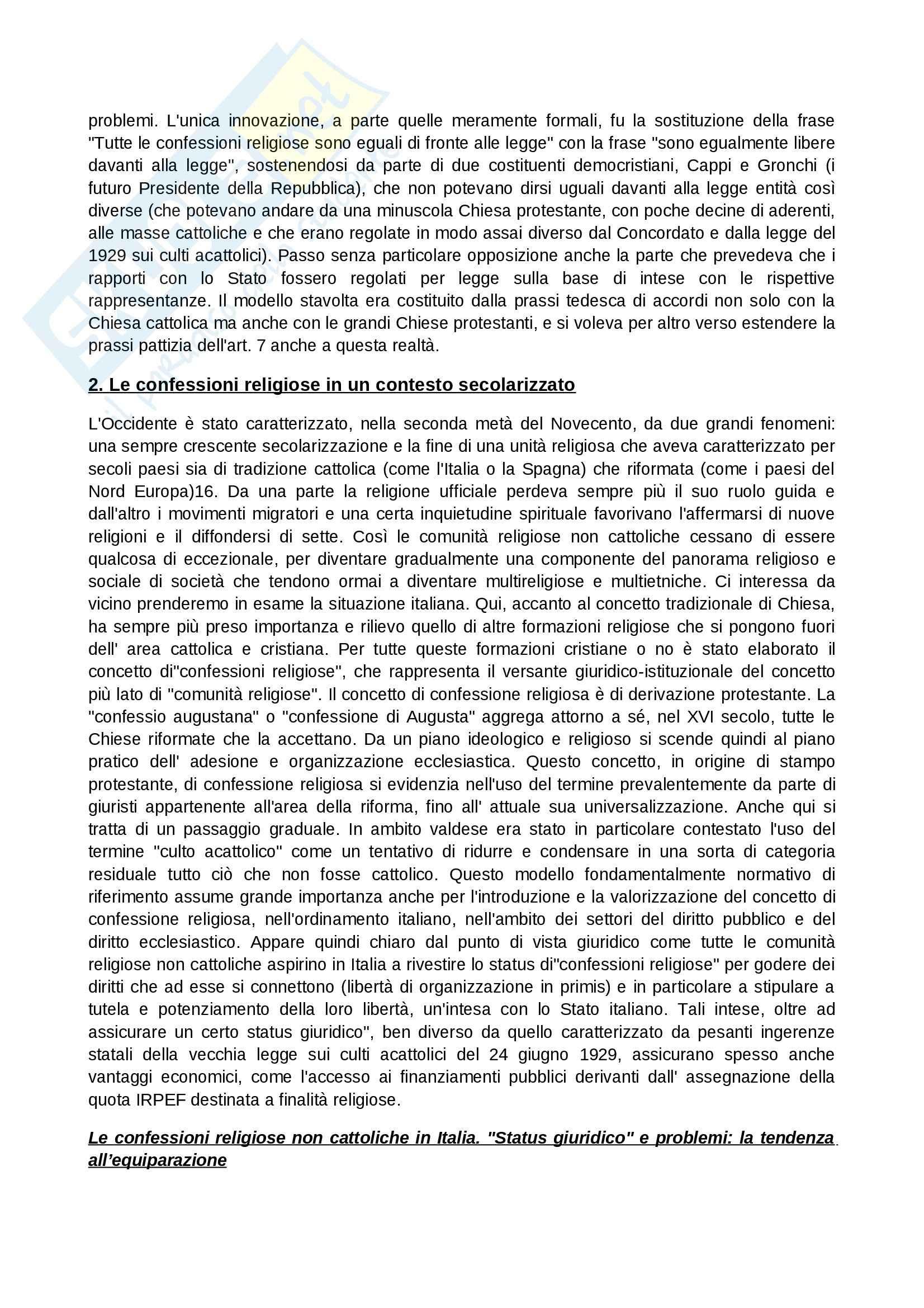 Riassunto esame Diritto Ecclesiastico, prof. Lo Castro, libro consigliato Dai Concordati alla Problematica Islamica, Musselli Pag. 2