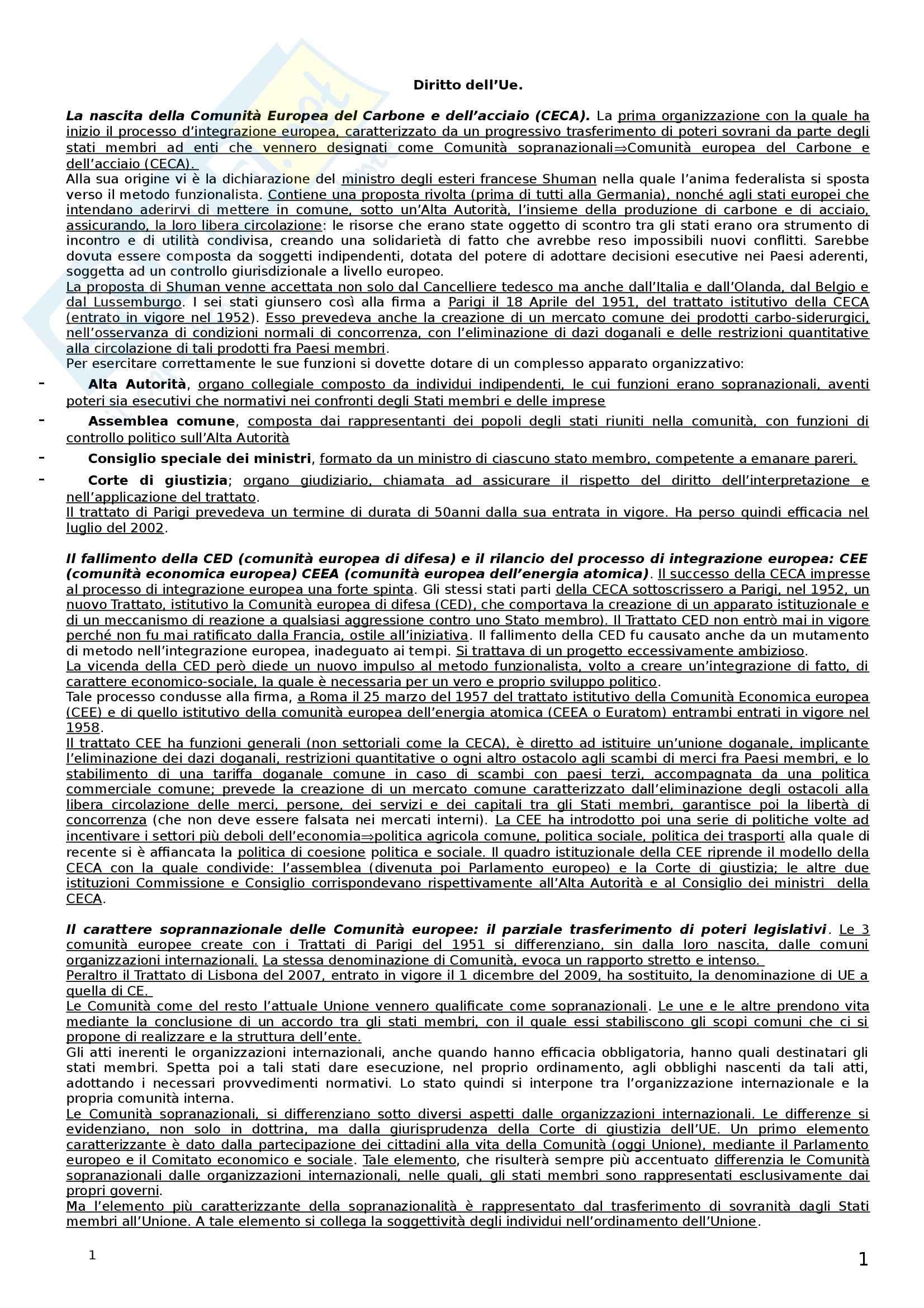 Riassunto esame Diritto dell'Unione Europea, prof. Castangia, libro consigliato Istituzioni di Diritto dell'Unione Europea, Villani