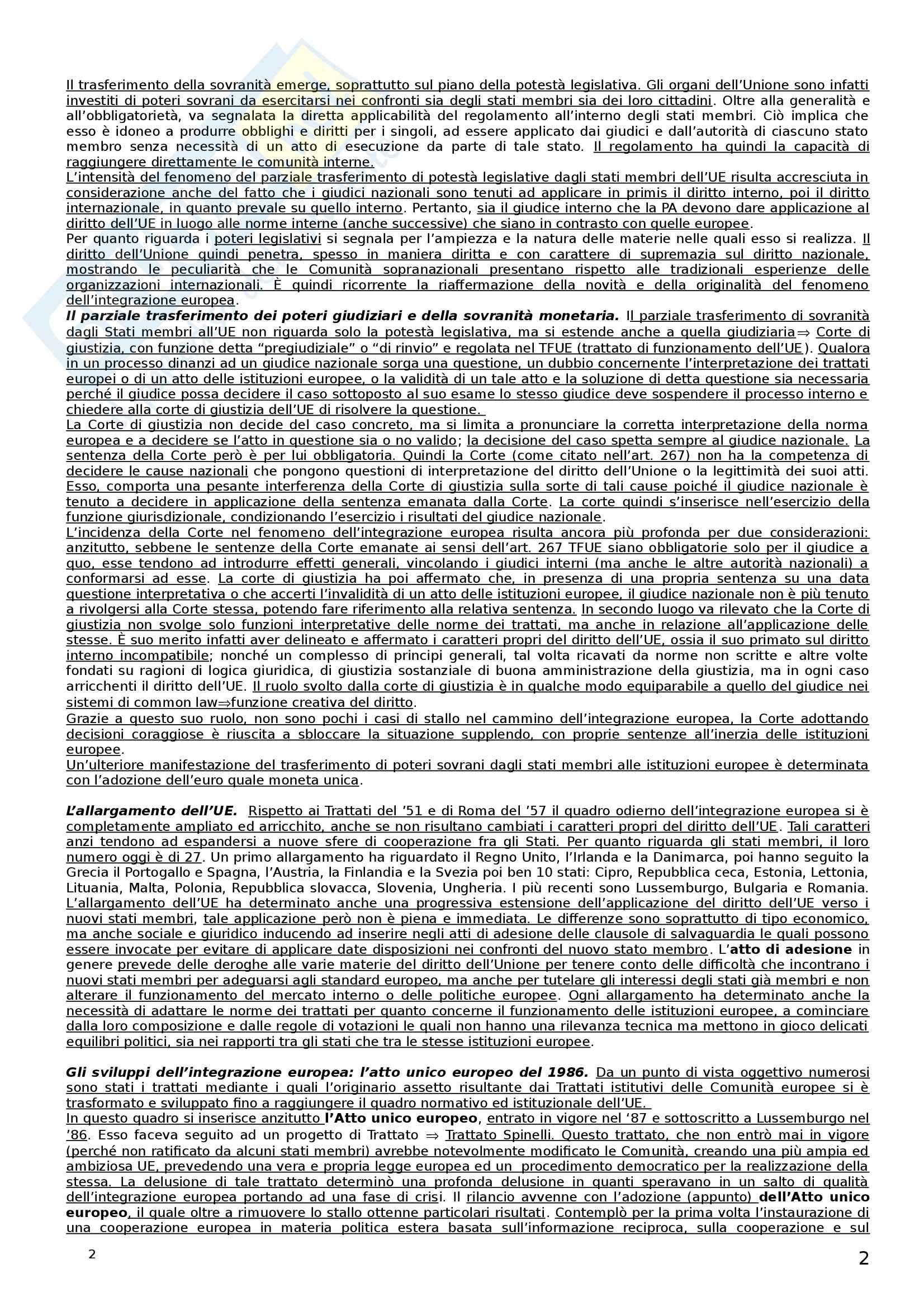 Riassunto esame Diritto dell'Unione Europea, prof. Castangia, libro consigliato Istituzioni di Diritto dell'Unione Europea, Villani Pag. 2