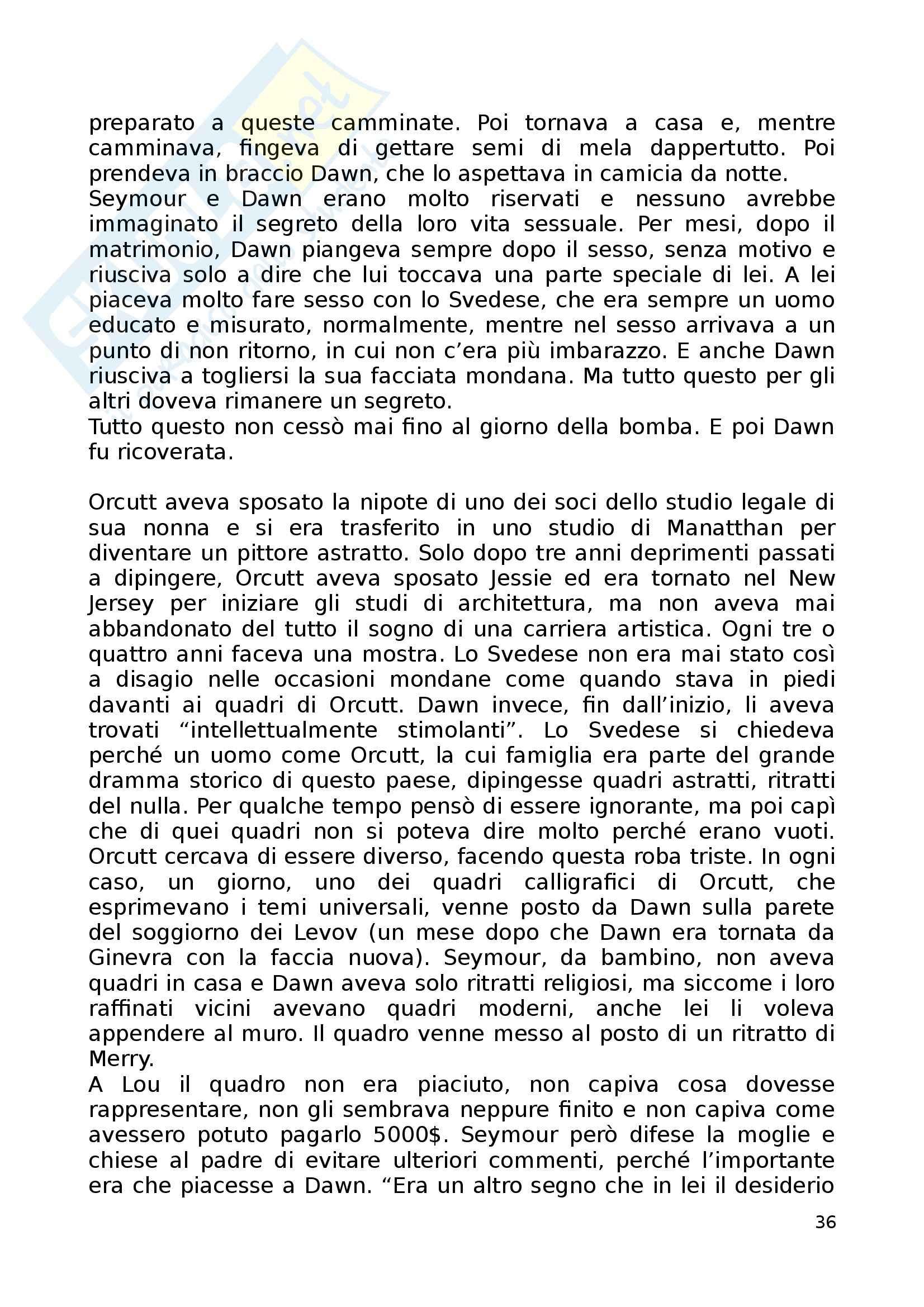 Riassunto esame Letterature comparate, prof. Vittorini, libro consigliato Pastorale americana, Roth Pag. 36