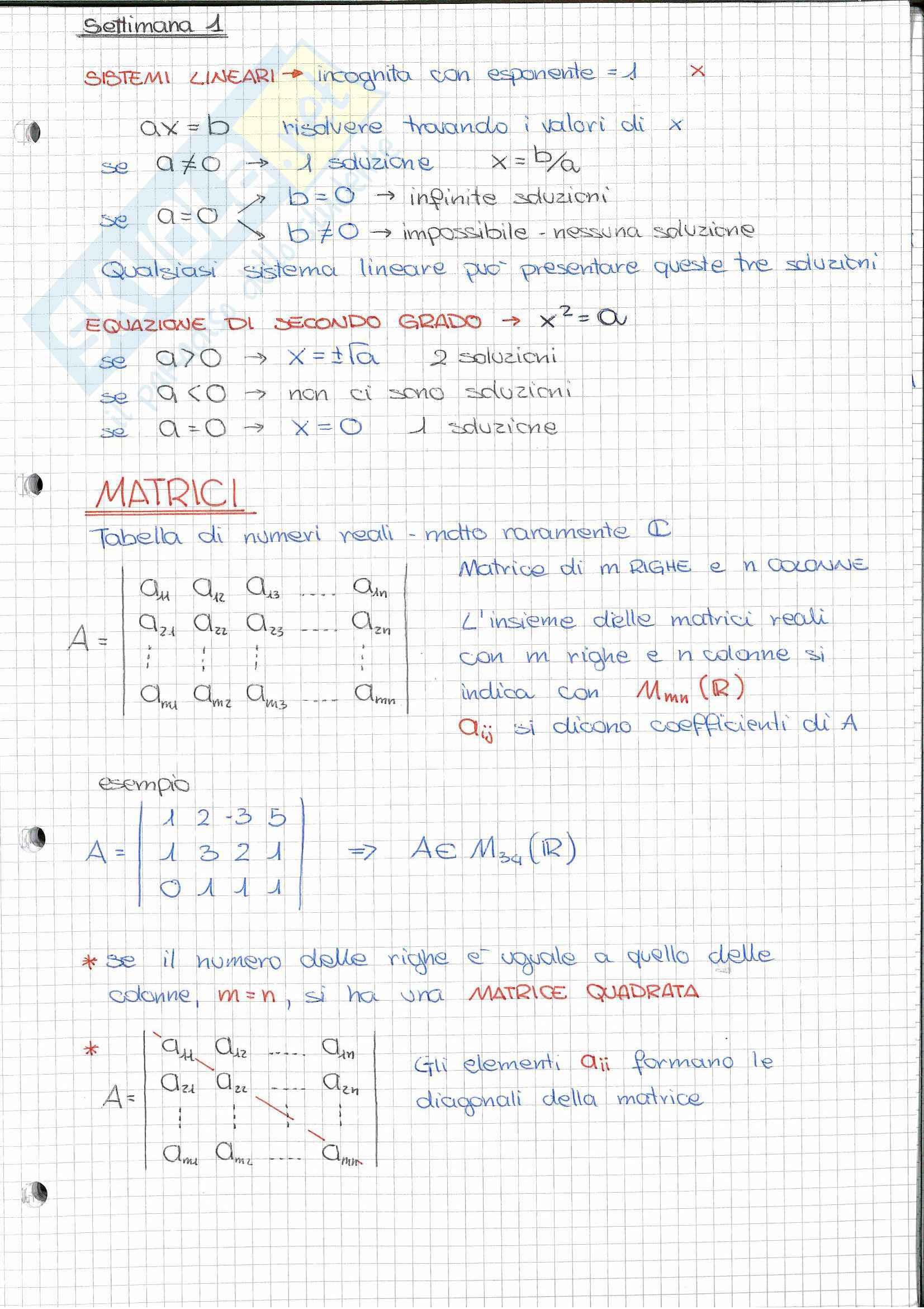 Riassunto esame Geometria (Algebra Lineare), prof. Nelli, libro consigliato Algebra lineare, Capocasa, Medori
