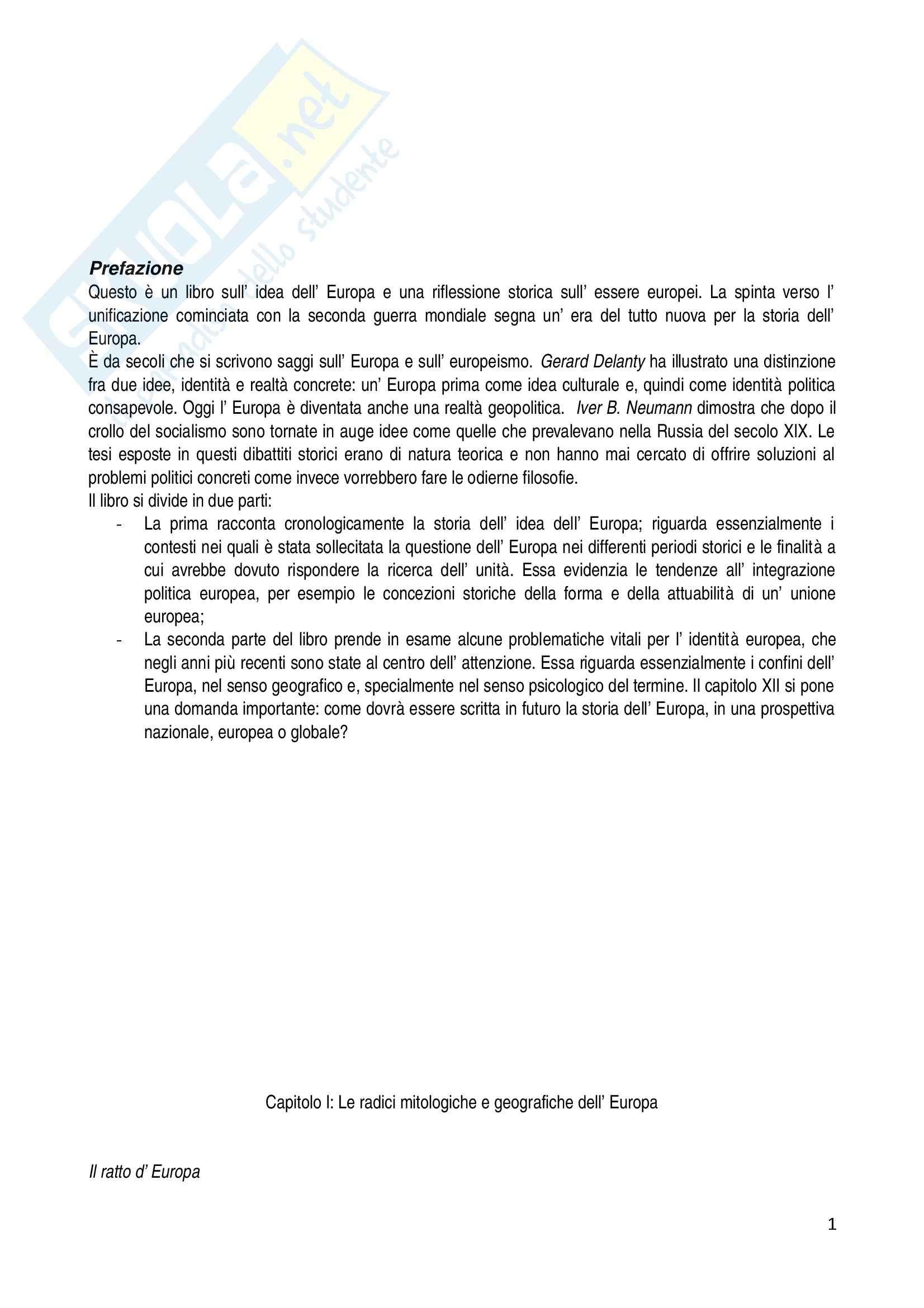 Riassunto esame Storia dell'Europa, prof. Zannini, libro consigliato Europa: Storia di un'Idea e di un'Identità di Mikkeli