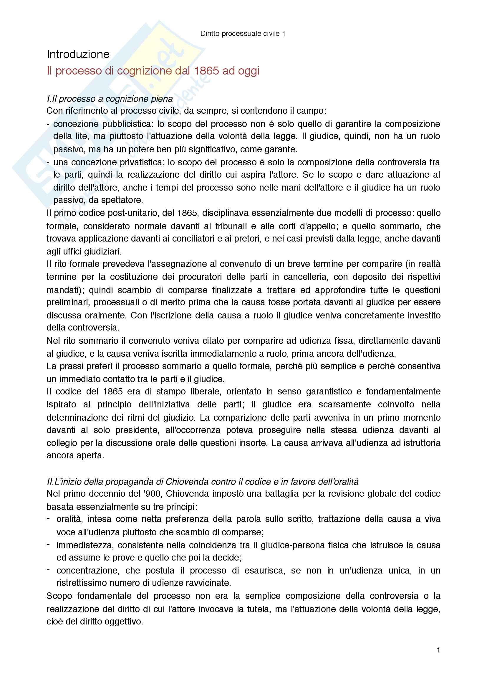 Riassunto esame di Procedura civile, prof Fabiani libro consigliato Diritto processuale civile, vol 2, Balena