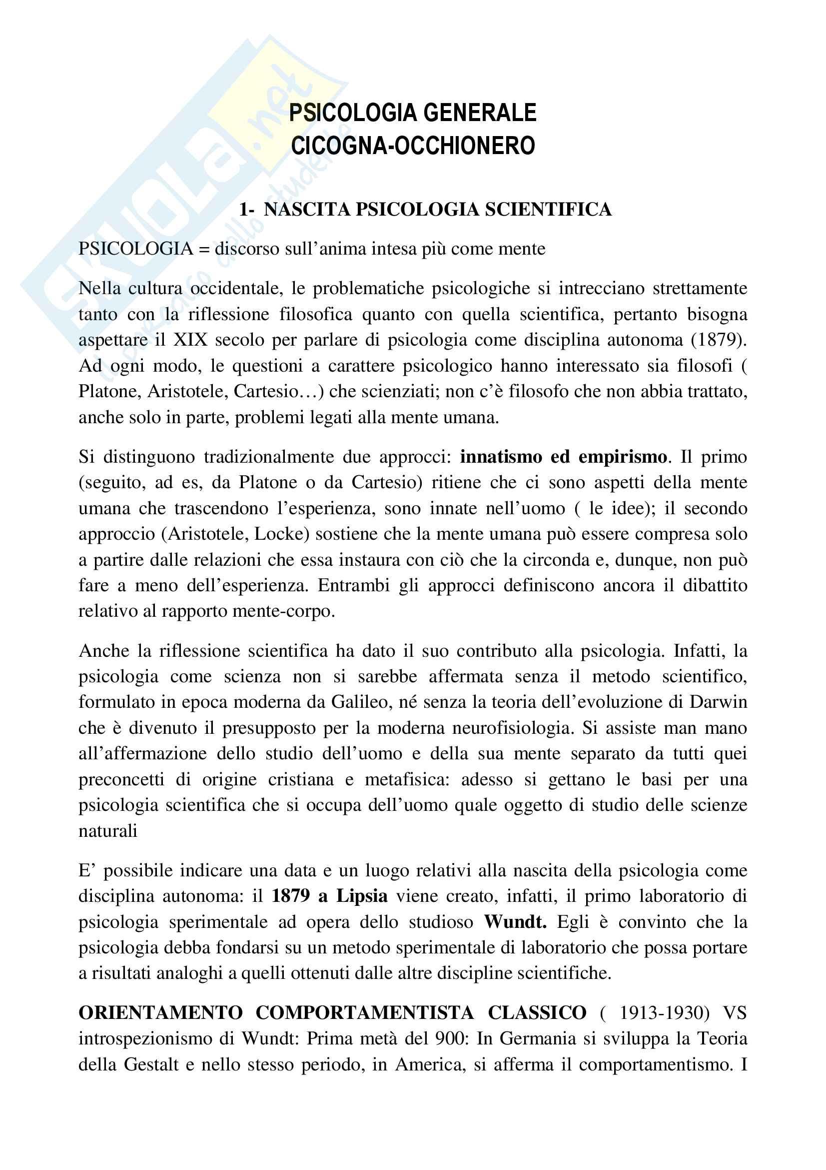 Riassunto esame psicologia generale, prof.ssa Cicogna, libro consigliato Psicologia generale, Cicogna, Occhionero