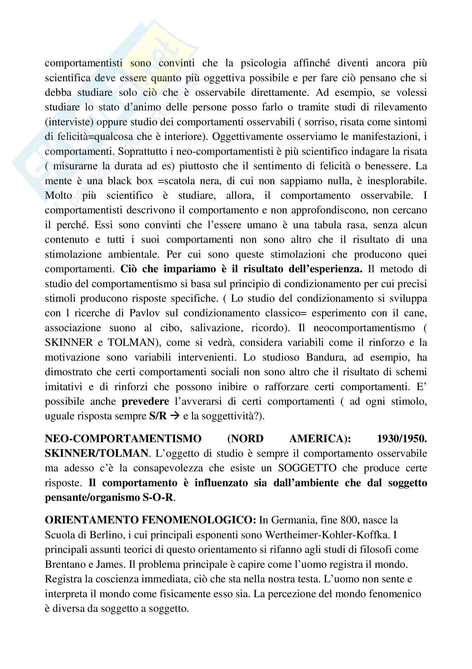 Riassunto esame psicologia generale, prof.ssa Cicogna, libro consigliato Psicologia generale, Cicogna, Occhionero Pag. 2