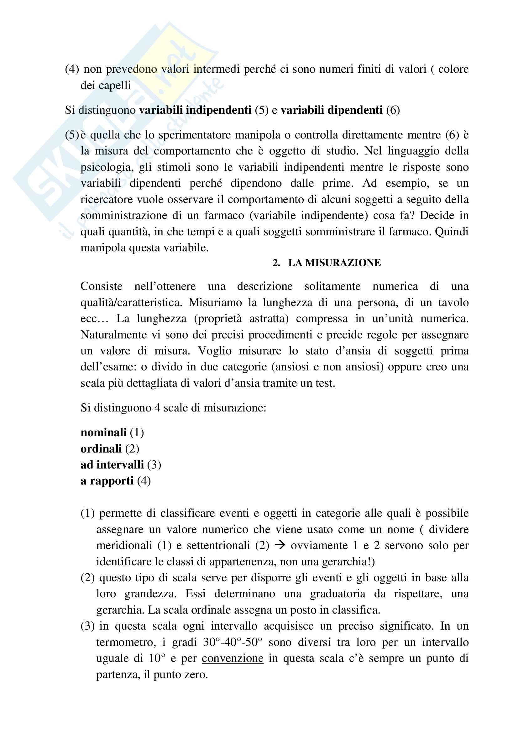 Riassunto esame psicologia generale, prof.ssa Cicogna, libro consigliato Psicologia generale, Cicogna, Occhionero Pag. 6