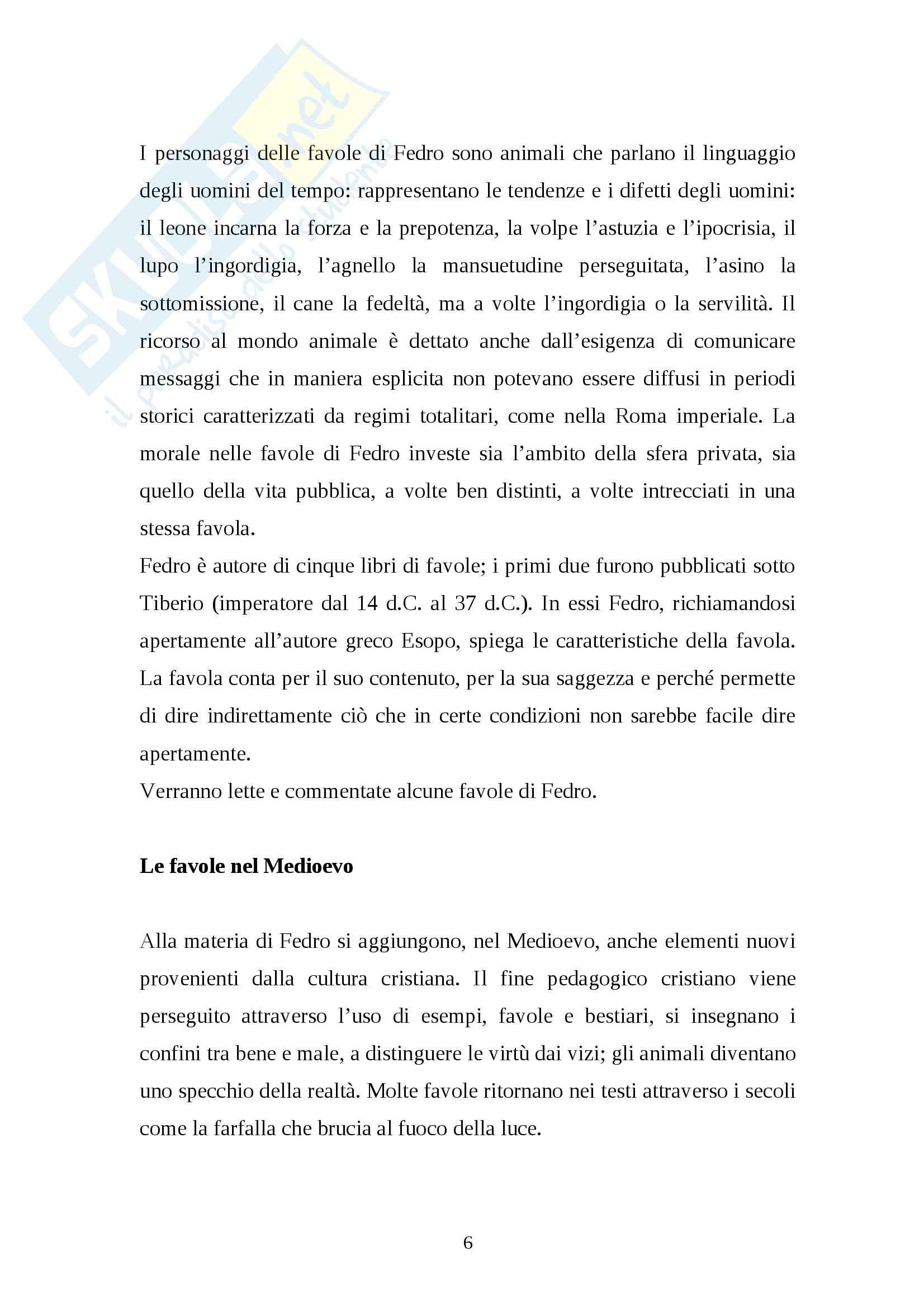 Modulo didattico - La favola - Percorso sulla favola dall'antichità al Settecento Pag. 6
