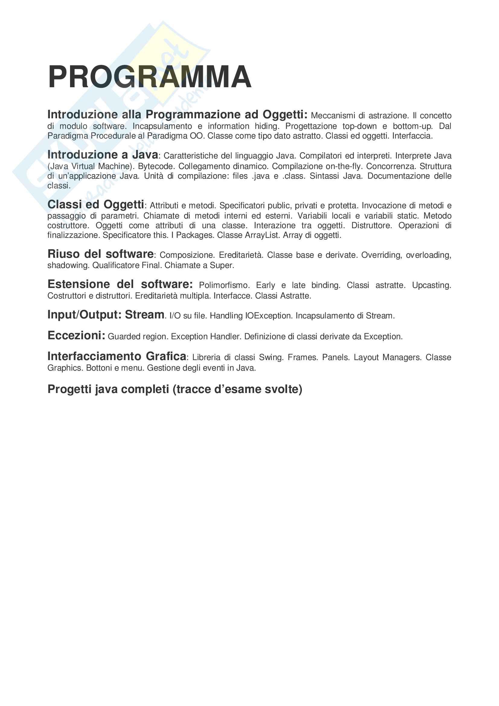 Programmazione ad oggetti (java) teoria + progetti java completi