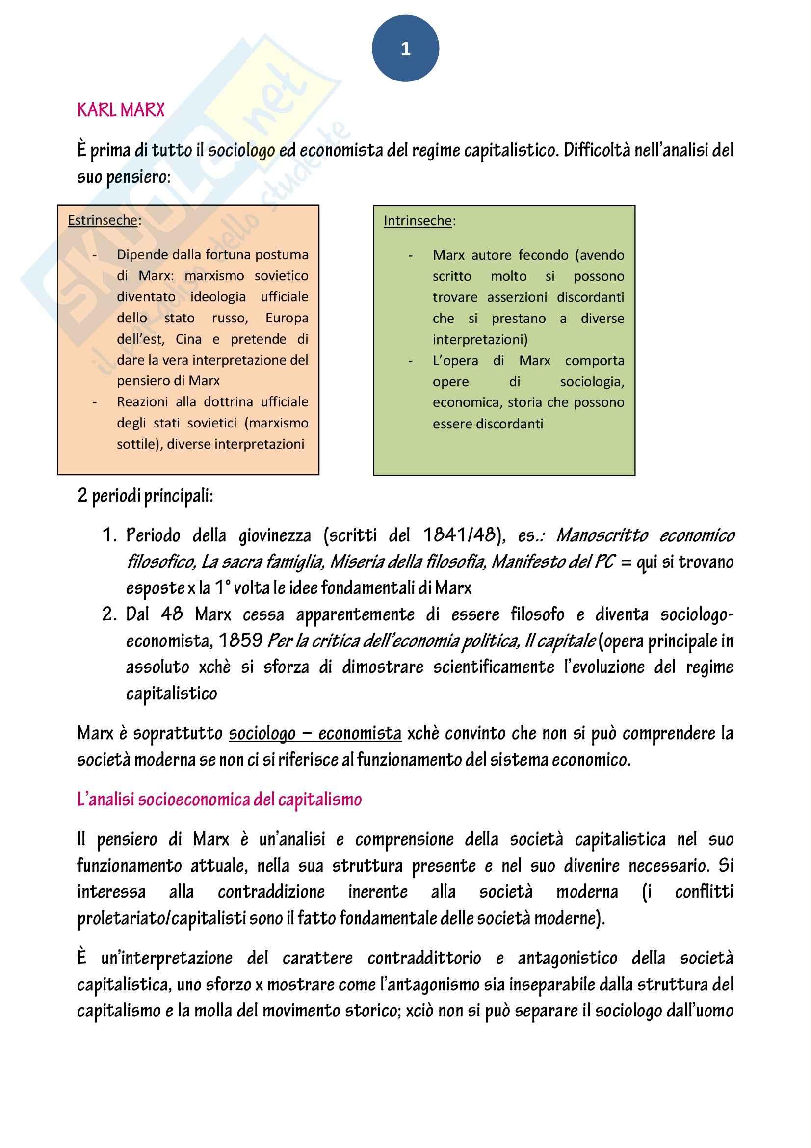 Riassunto esame Sociologia, prof. Baldissera, libro consigliato Le tappe del pensiero sociologico, Aron