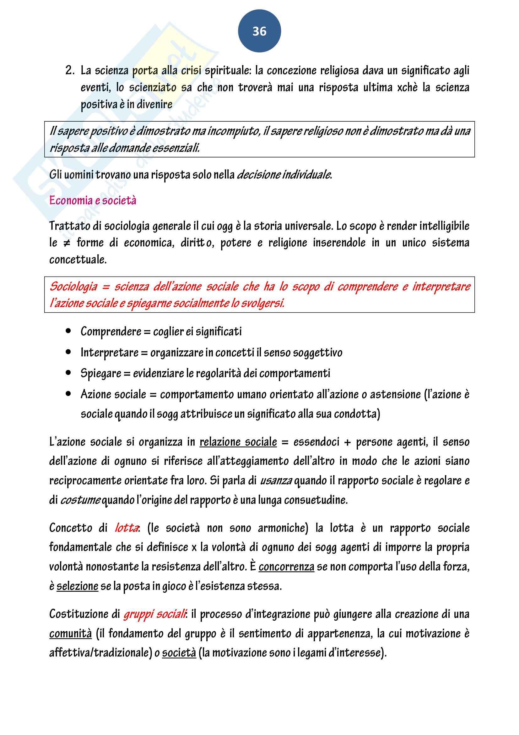 Riassunto esame Sociologia, prof. Baldissera, libro consigliato Le tappe del pensiero sociologico, Aron Pag. 36