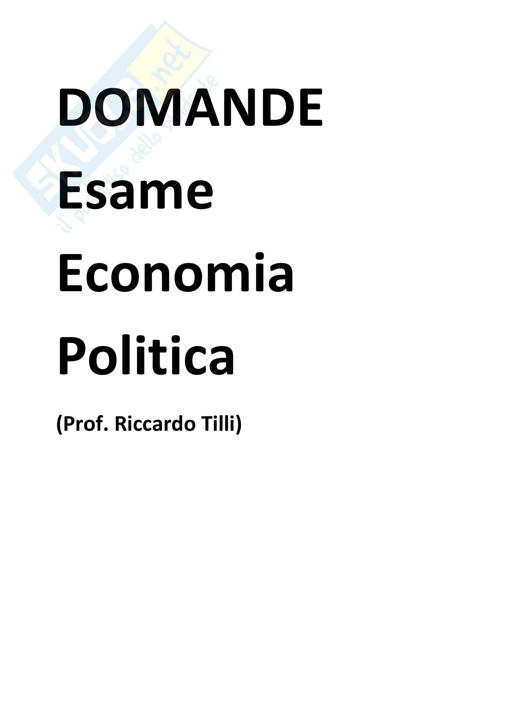 Domande frequenti economia politica Riccardo Tilli