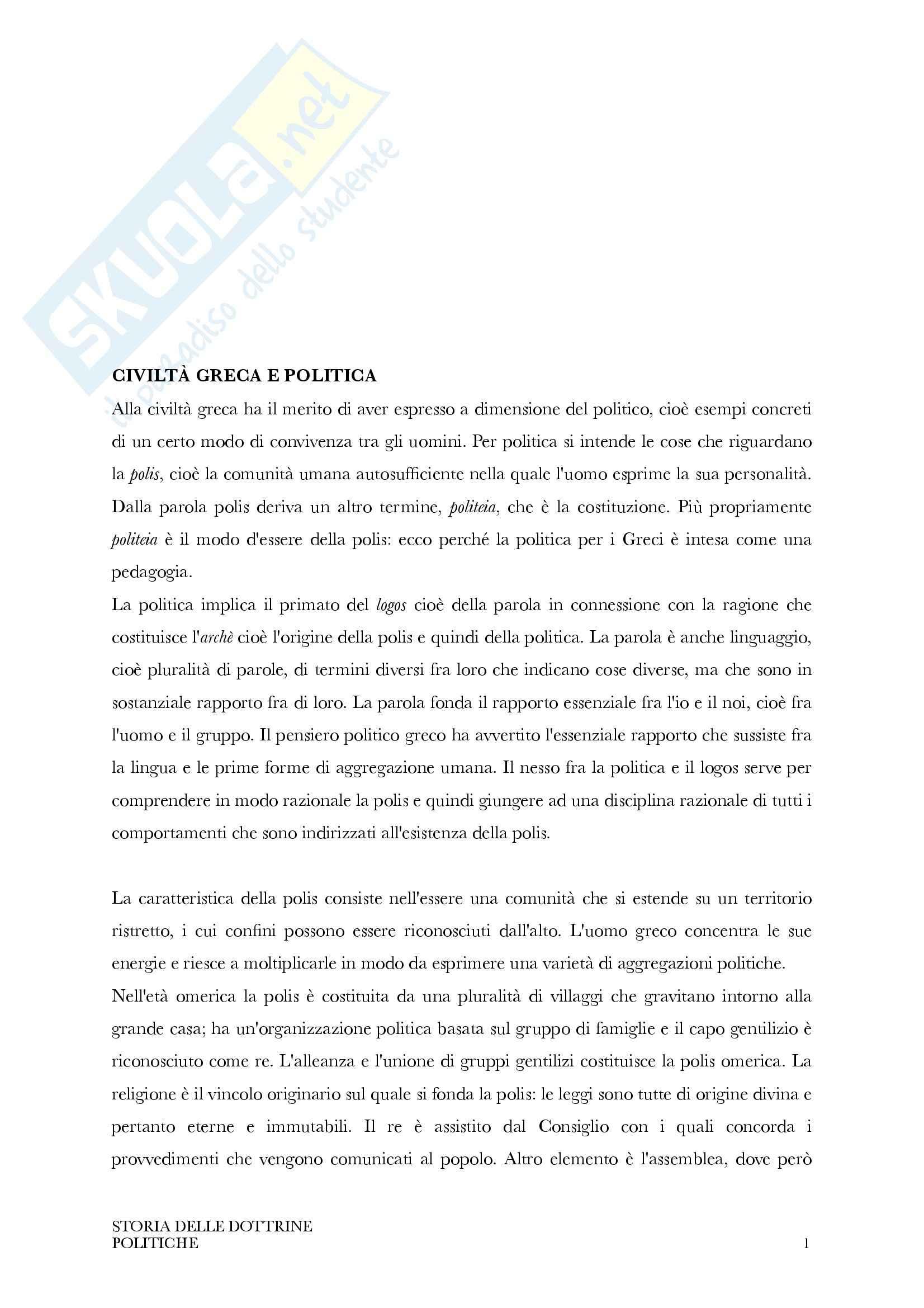 Riassunto esame Storia delle dottrine politiche, prof. Truffelli, libro consigliato Storia delle Dottrine politiche, D'Addio