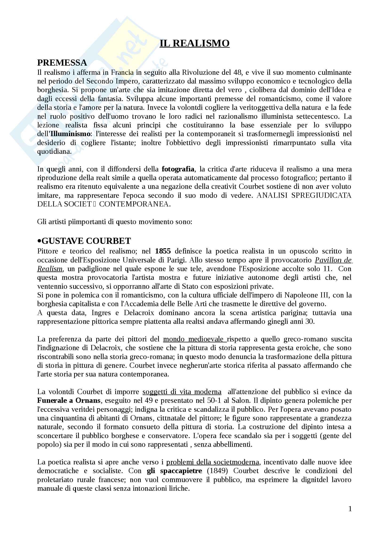Riassunto esame Arte contmporanea (parte istituzionale), docente Di Raddo, libro consigliato: Nochlin, Il realismo
