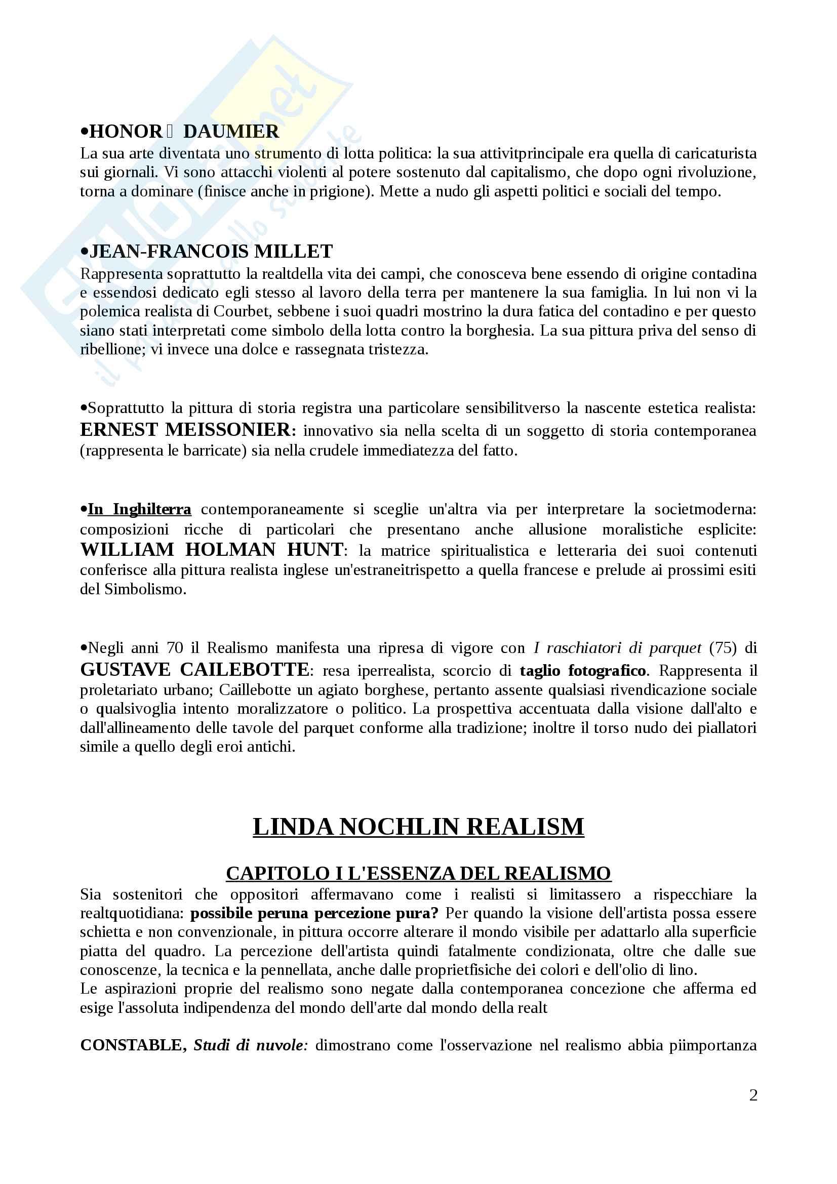 Riassunto esame Arte contmporanea (parte istituzionale), docente Di Raddo, libro consigliato: Nochlin, Il realismo Pag. 2