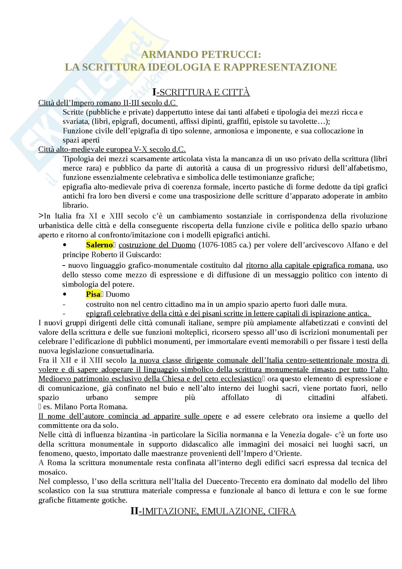 Riassunto esame Storia della stampa e dell'editoria, prof. Braida. Libro consigliato La scrittura ideologia e rappresentazione, Armando Petrucci