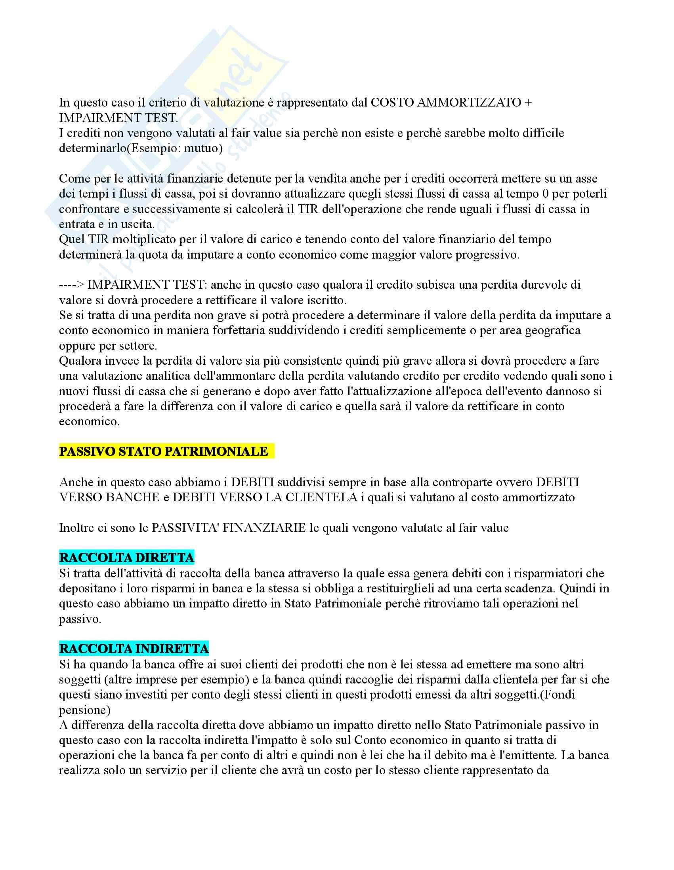 Bilancio bancario, criteri di valutazione stato patrimoniale, conto economico, riclassificazione e analisi di bilancio, 21 pagine Pag. 6
