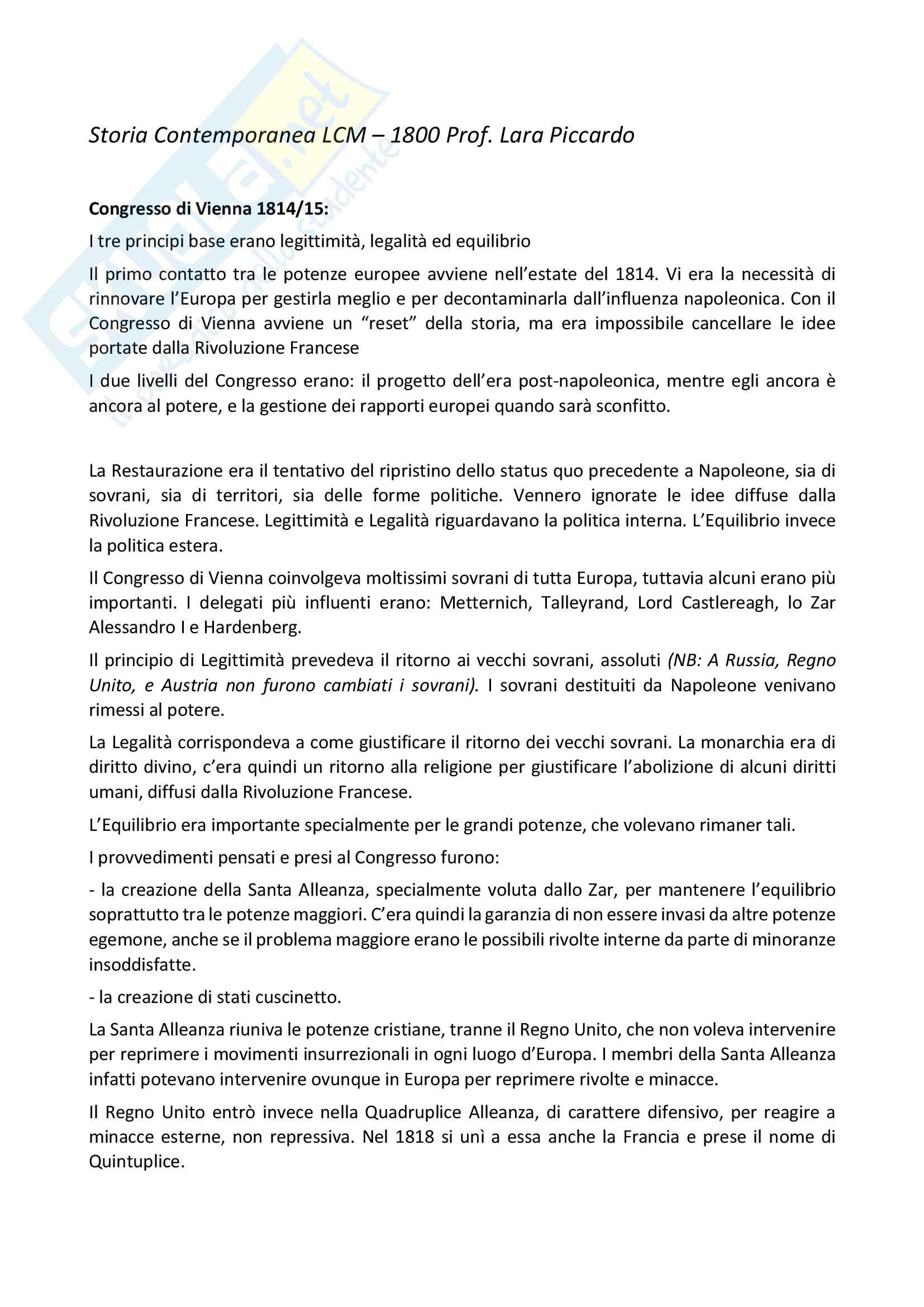 Storia dell'800 Prof Piccardo Unige LCM Storia contemporanea
