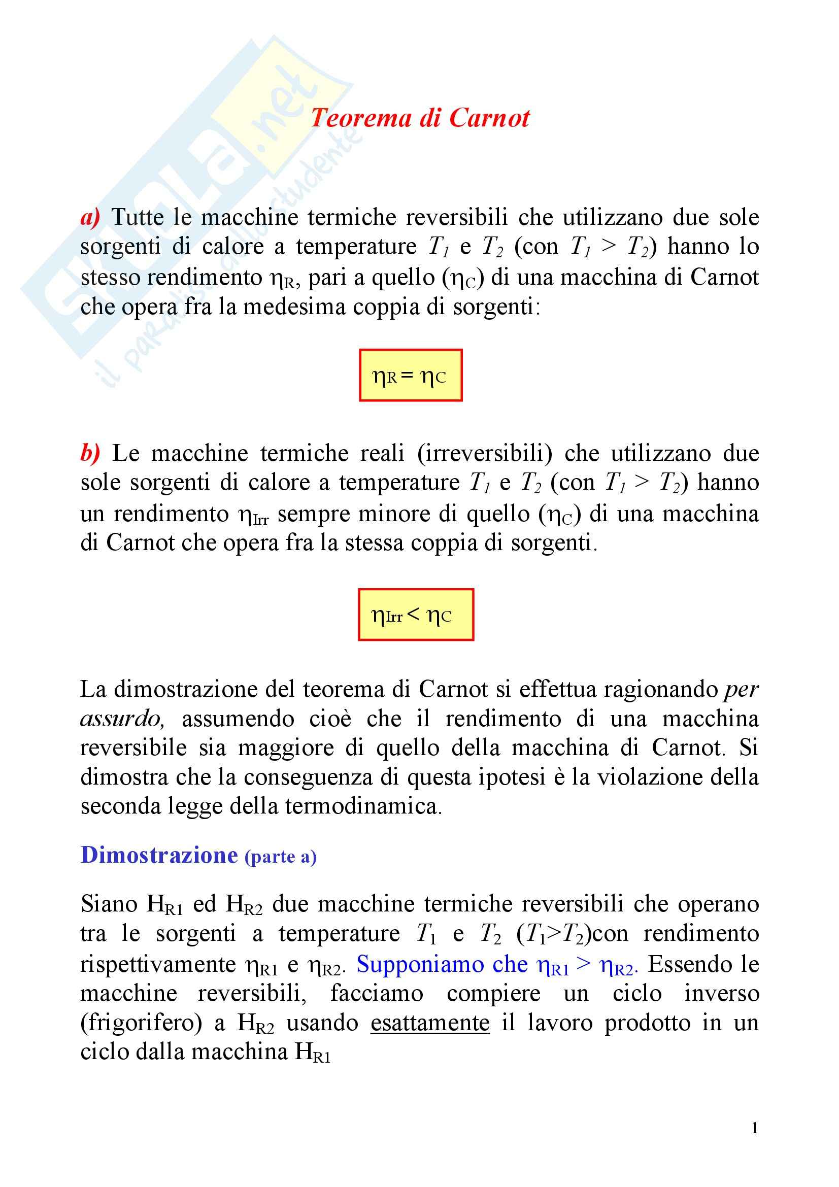 Fisica statistica ed informatica – Teorema di Carnot