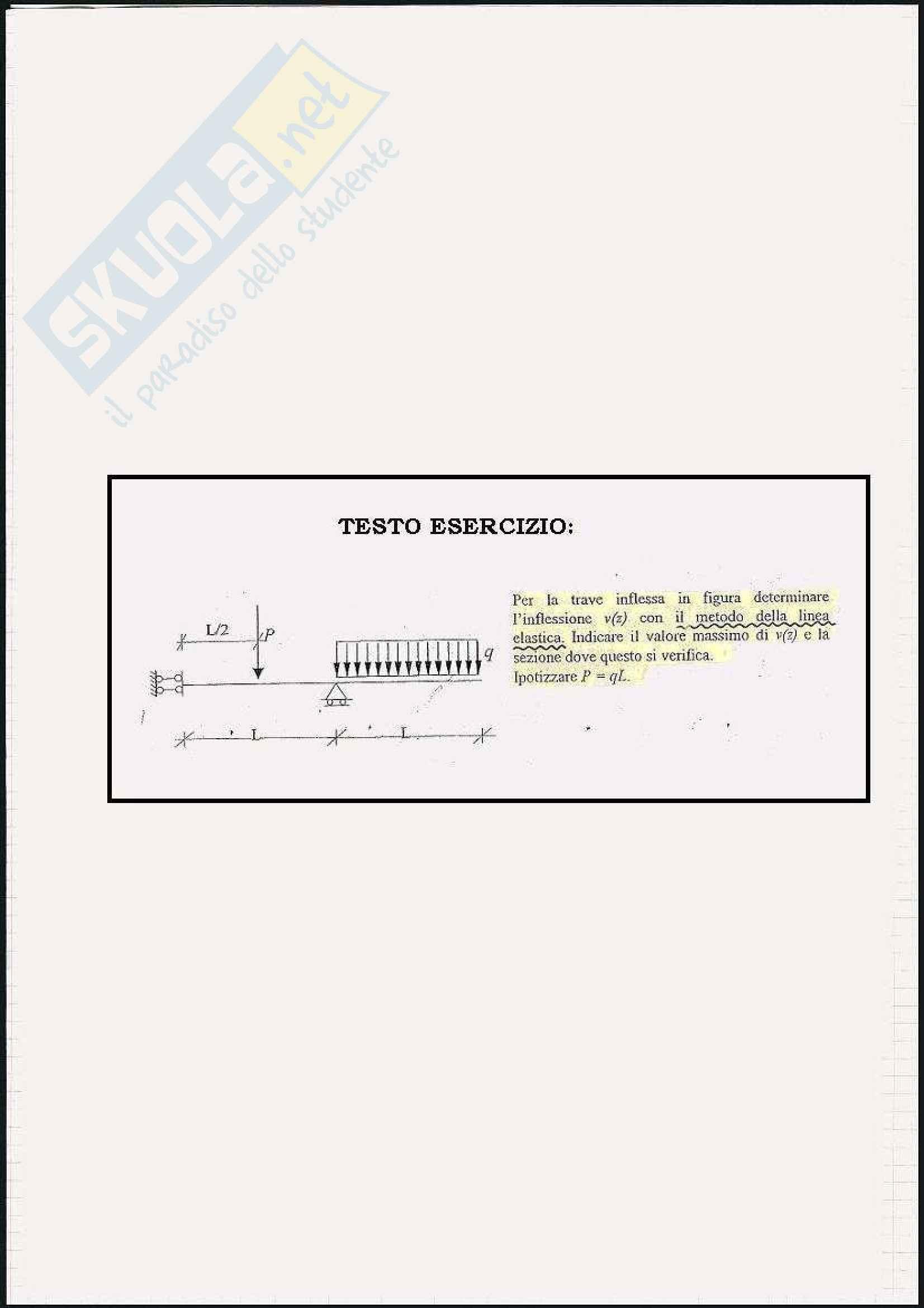 Scienza delle costruzioni - Esercizi sulla linea elastica e Mohr Pag. 61