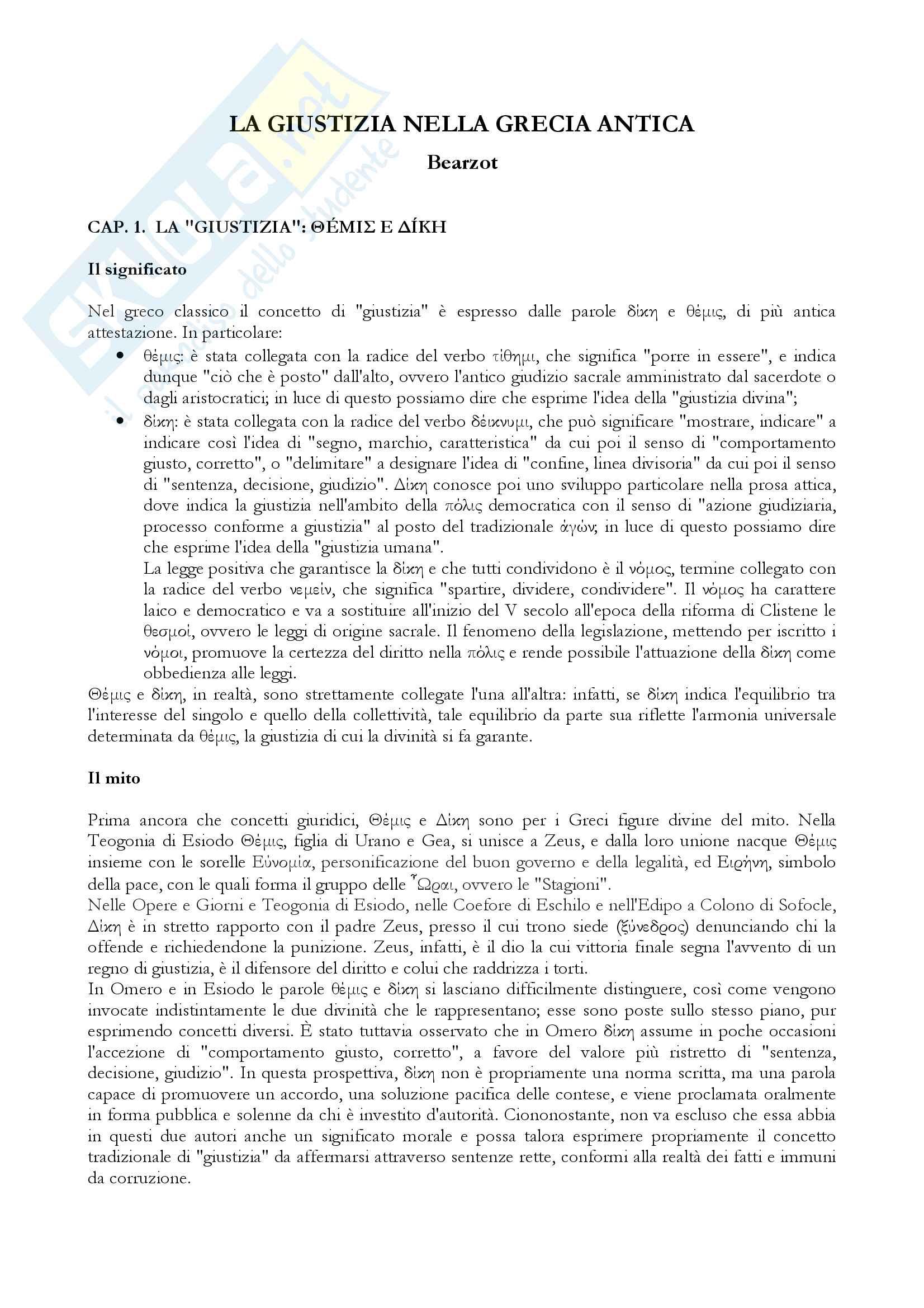 Riassunto esame Storia greca, prof.ssa Prandi, libro consigliato La giustizia nella Grecia antica, C. Bearzot