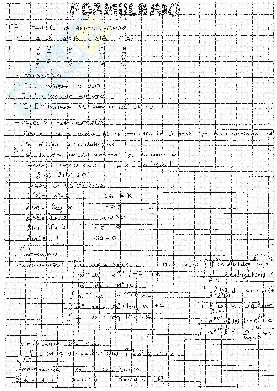 Appunti di Matematica Generale, docente Samuele Riccarelli