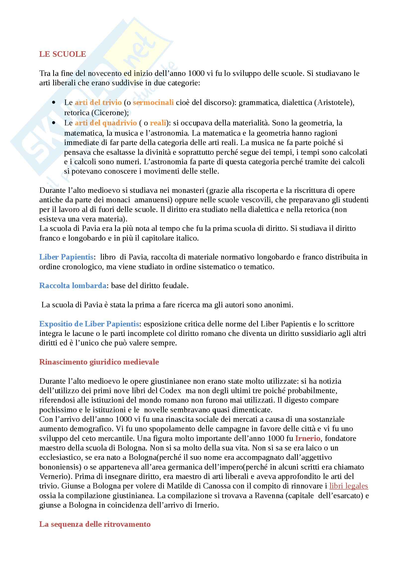 Scuola tra la fine del 900 e l'inizio dell'anno 1000, Storia diritto