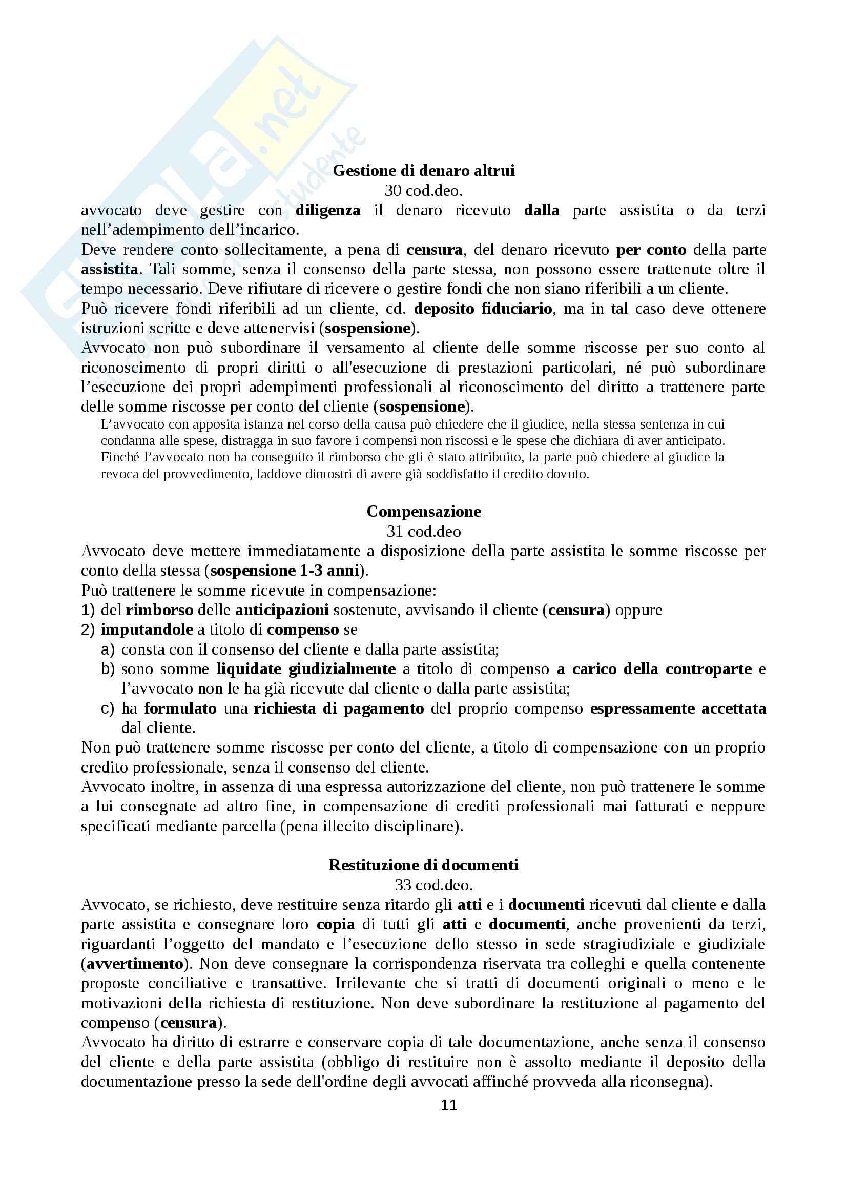 Ordinamento e deontologia forense Esame da Avvocato Pag. 11