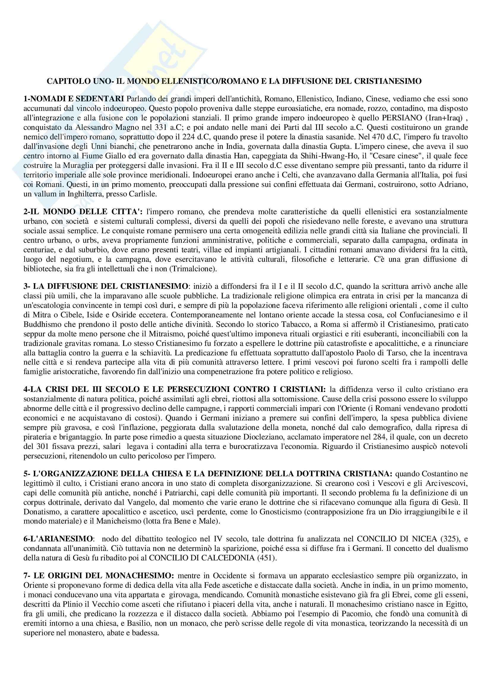 Riassunto esame Storia, prof. Benvenuti, libro consigliato Medioevo, Vitolo