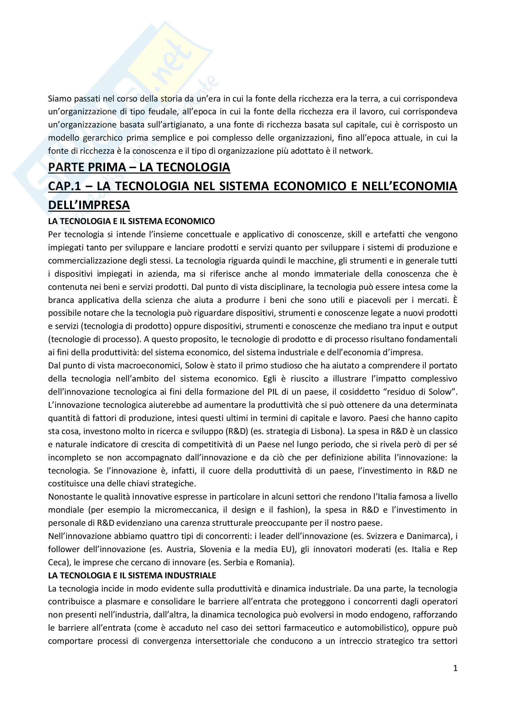 Riassunto esame Gestione della Tecnologia, prof. Vicari, libro consigliato Innovazione e Operation
