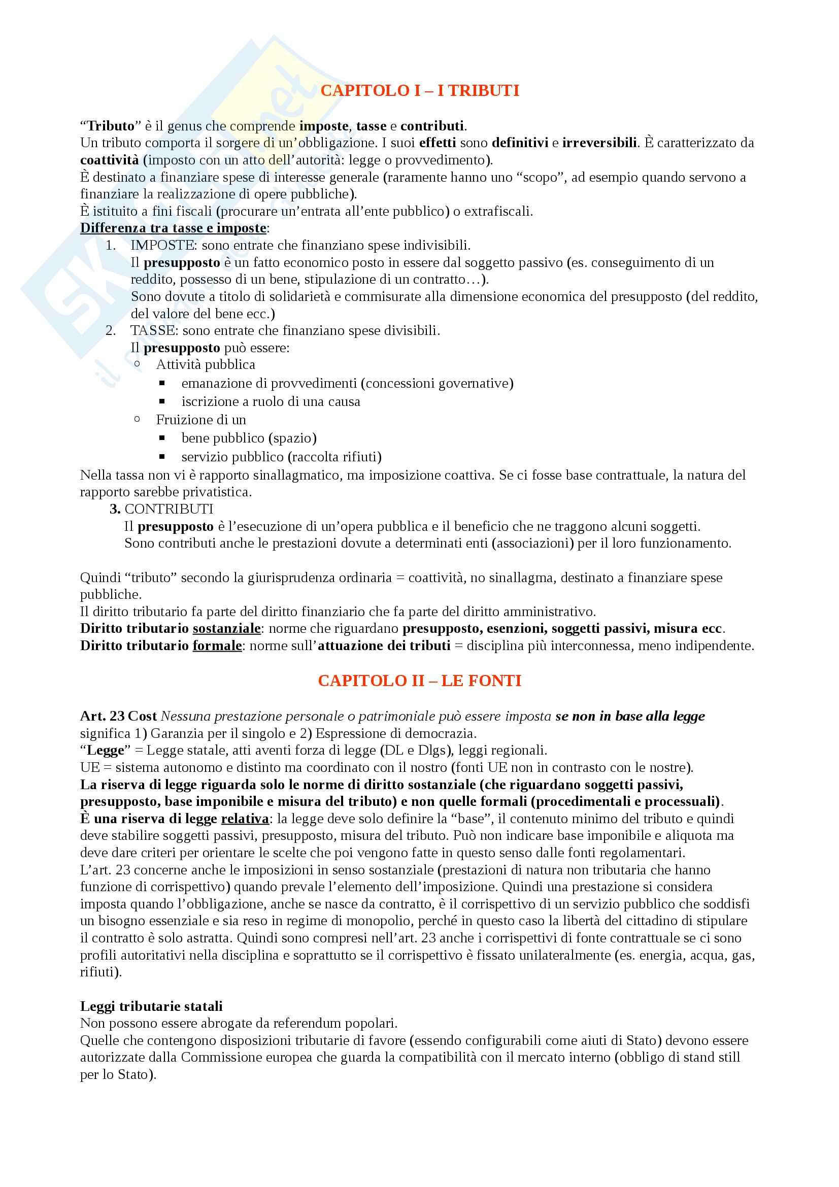 Diritto tributario - Parte generale + Appunti sui singoli redditi