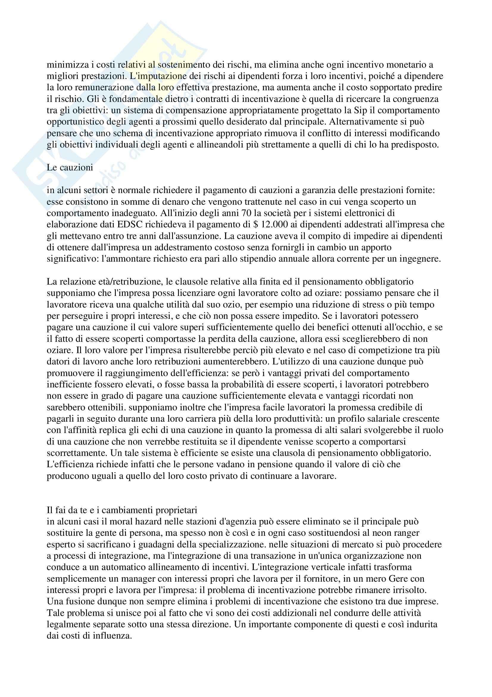 Riassunto esame Organizzazione aziendale, prof. Modica, libro consigliato Economia, organizzazione e management, Milgrom Pag. 36