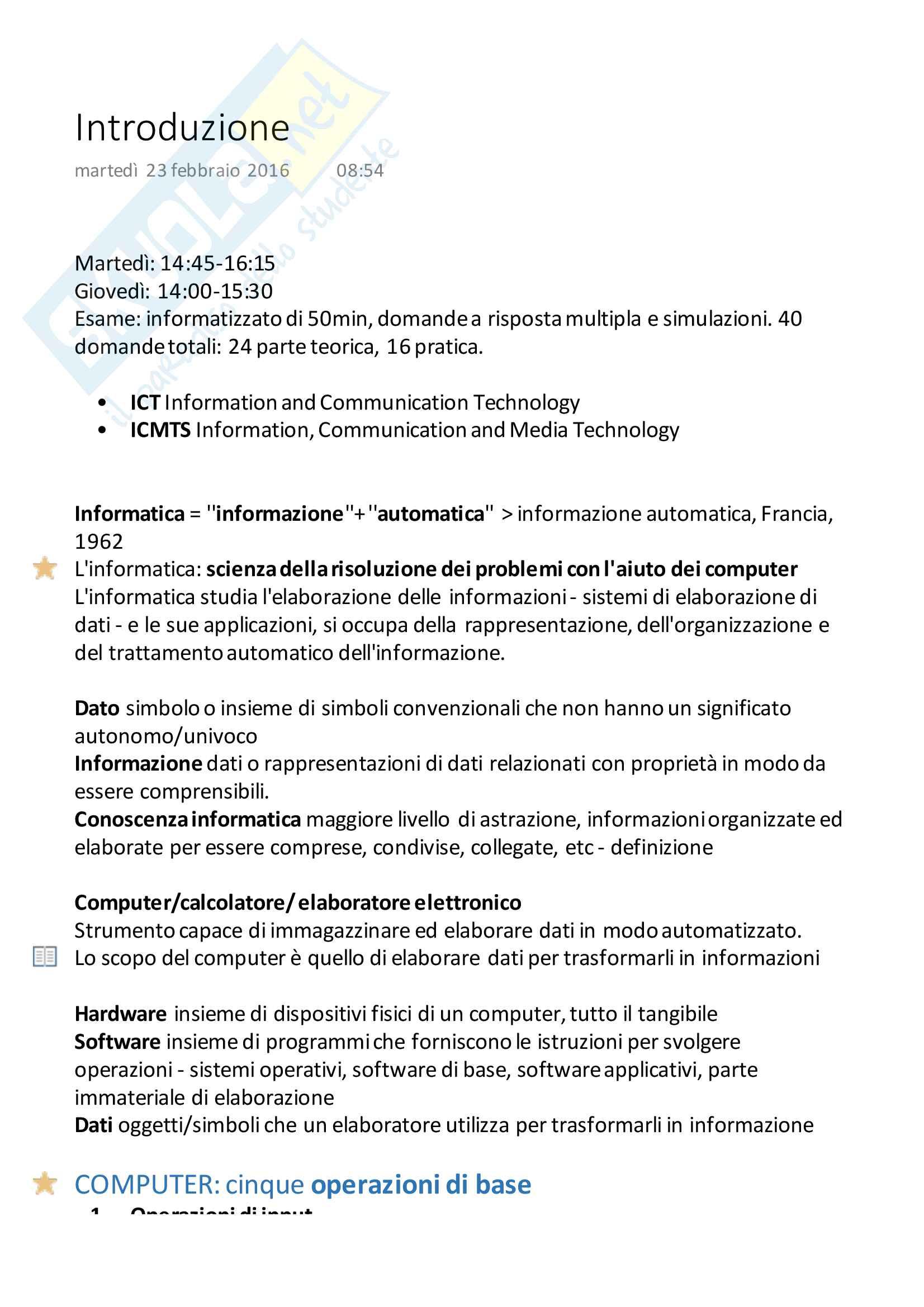 Introduzione al corso ''Informatica per la Comunicazione'', Andrea Davide Cuman. 1a Lezione