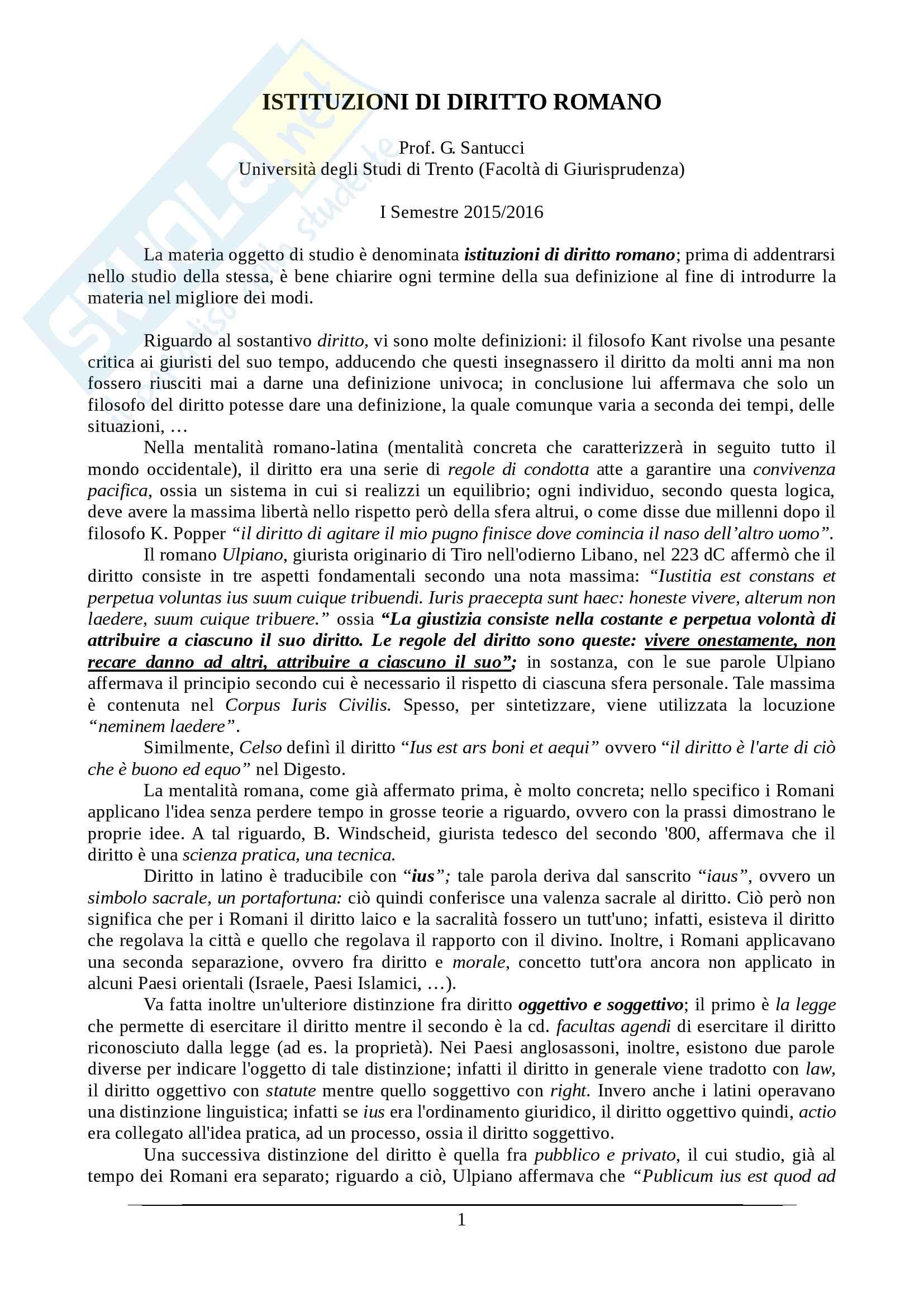 Istituzioni di diritto romano - Appunti Prof. Santucci