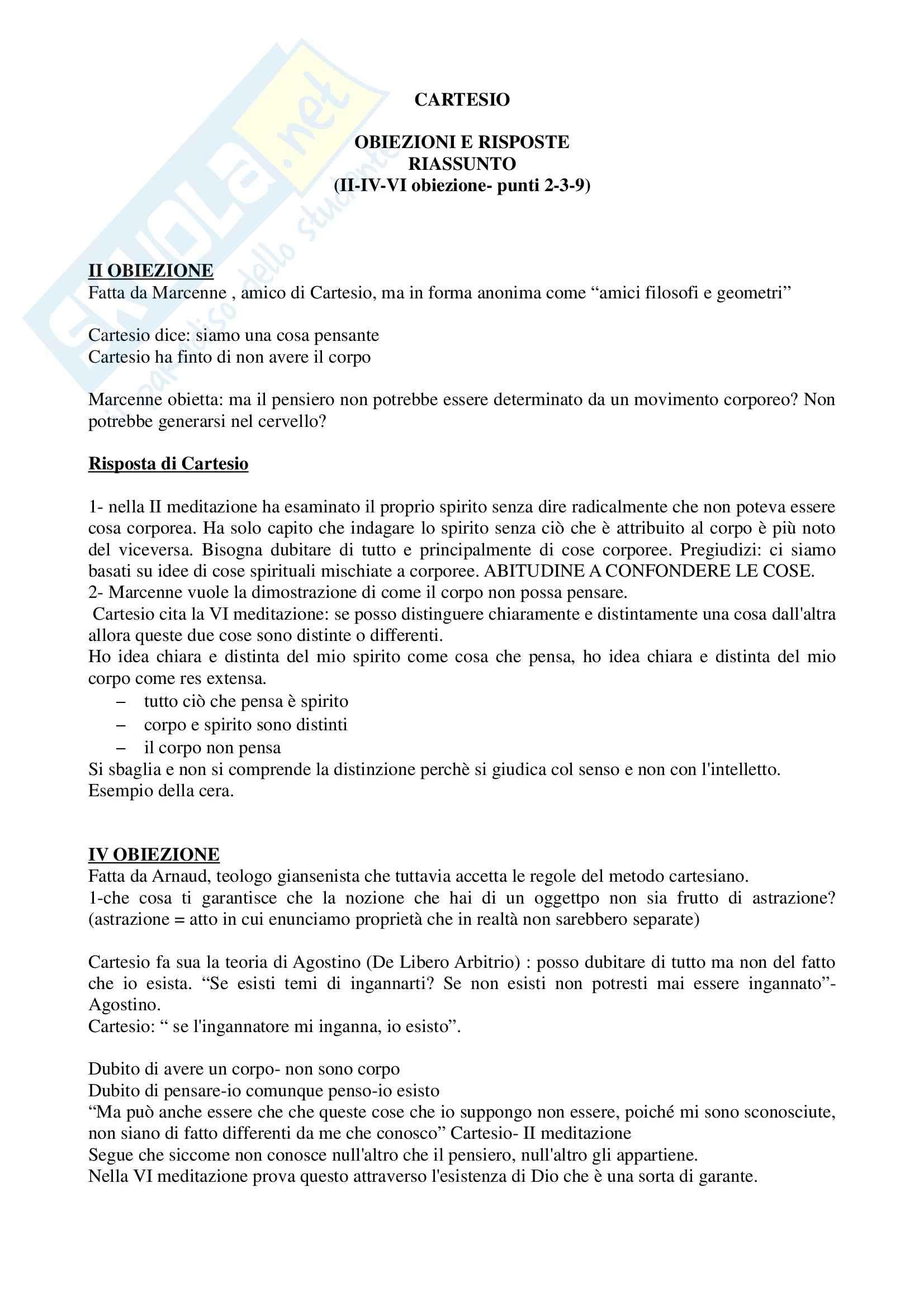 Storia della filosofia - obiezioni e risposte di Cartesio