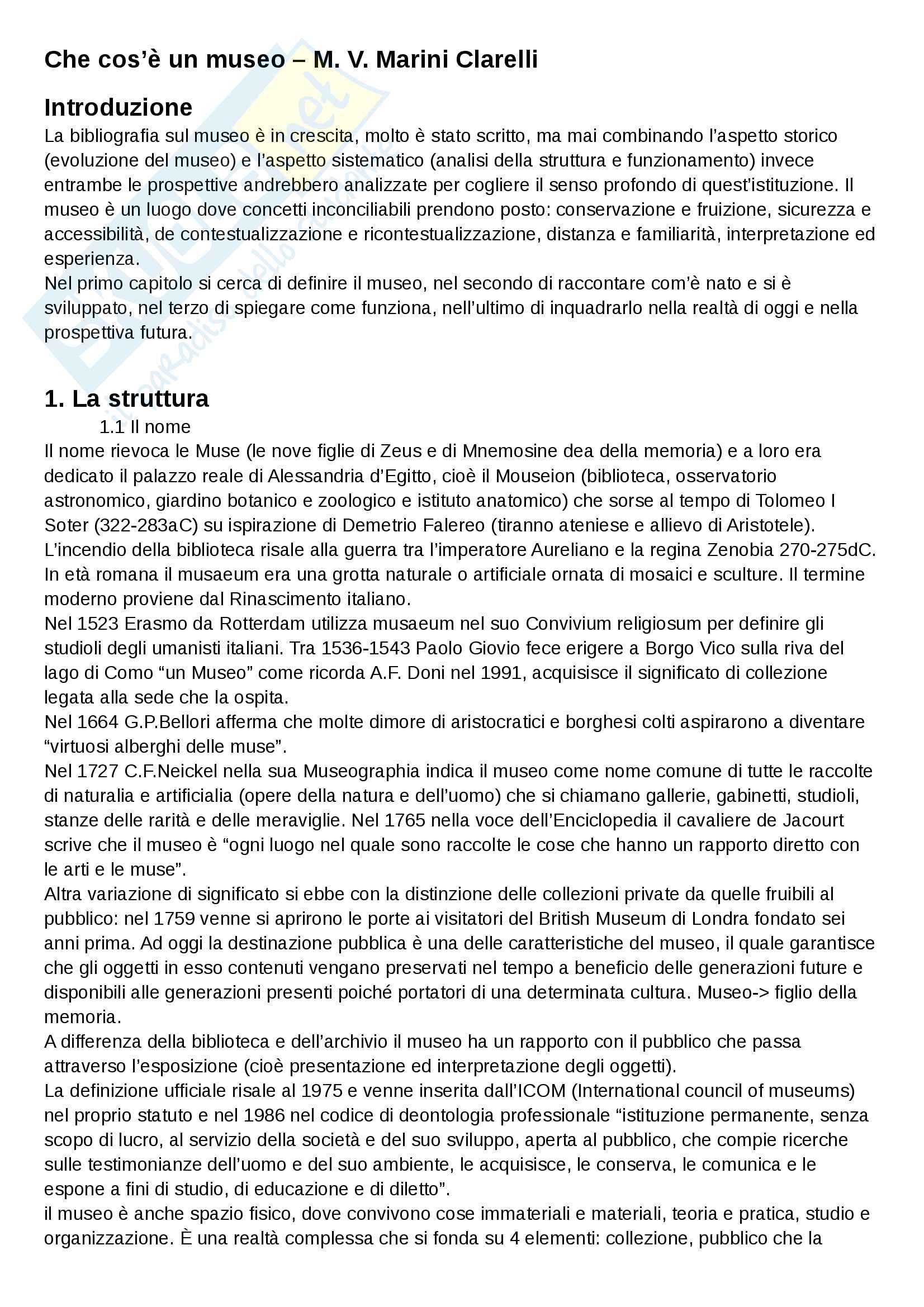 Riassunto esame Storia dell'Archeologia e Museologia, prof. Calcani, libro consigliato Che cos è un museo, M. V. Marini Clarelli