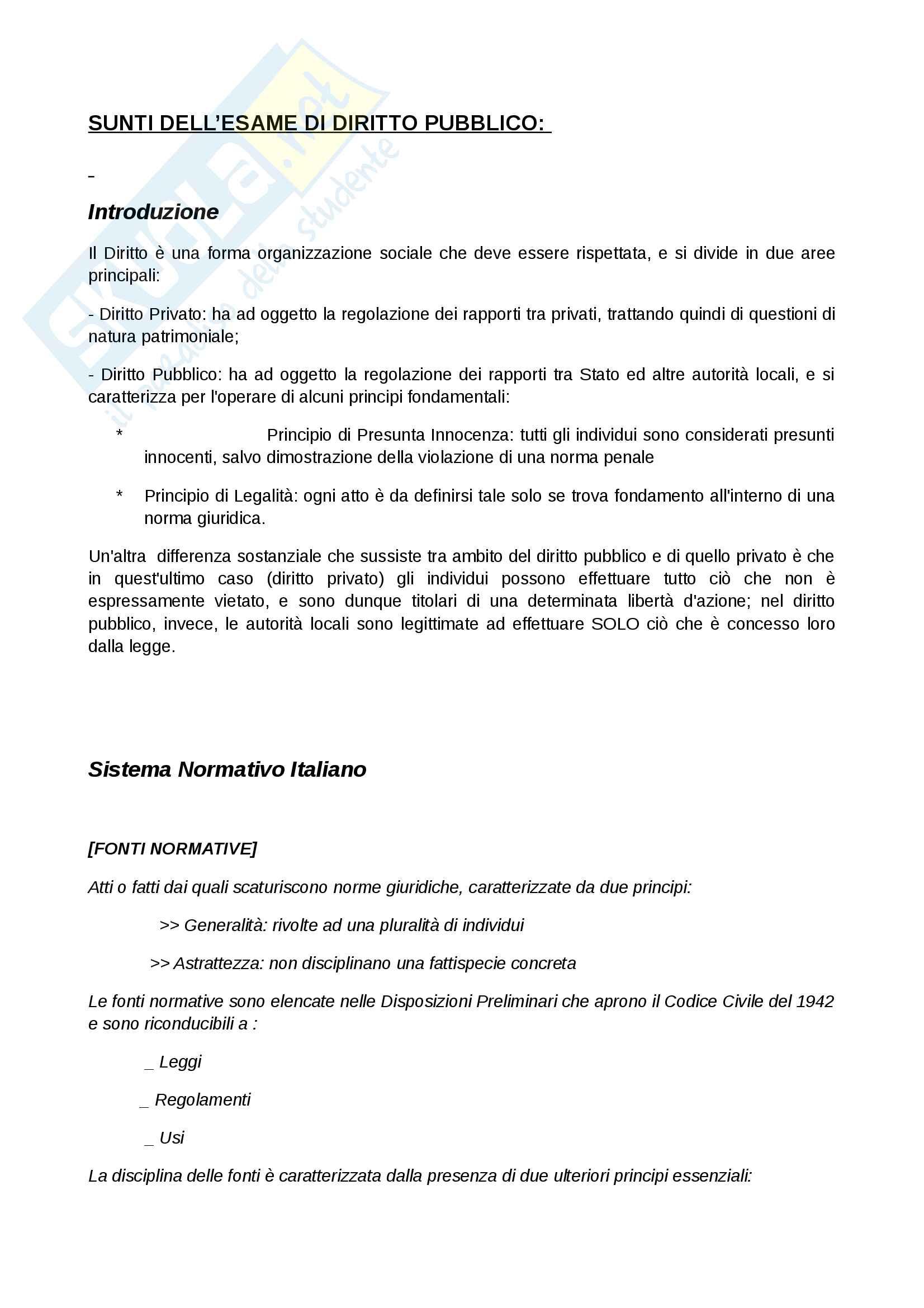 Riassunto esame Diritto Pubblico - Prof. Pierfrancesco Lotito - Economia Aziendale Unifi