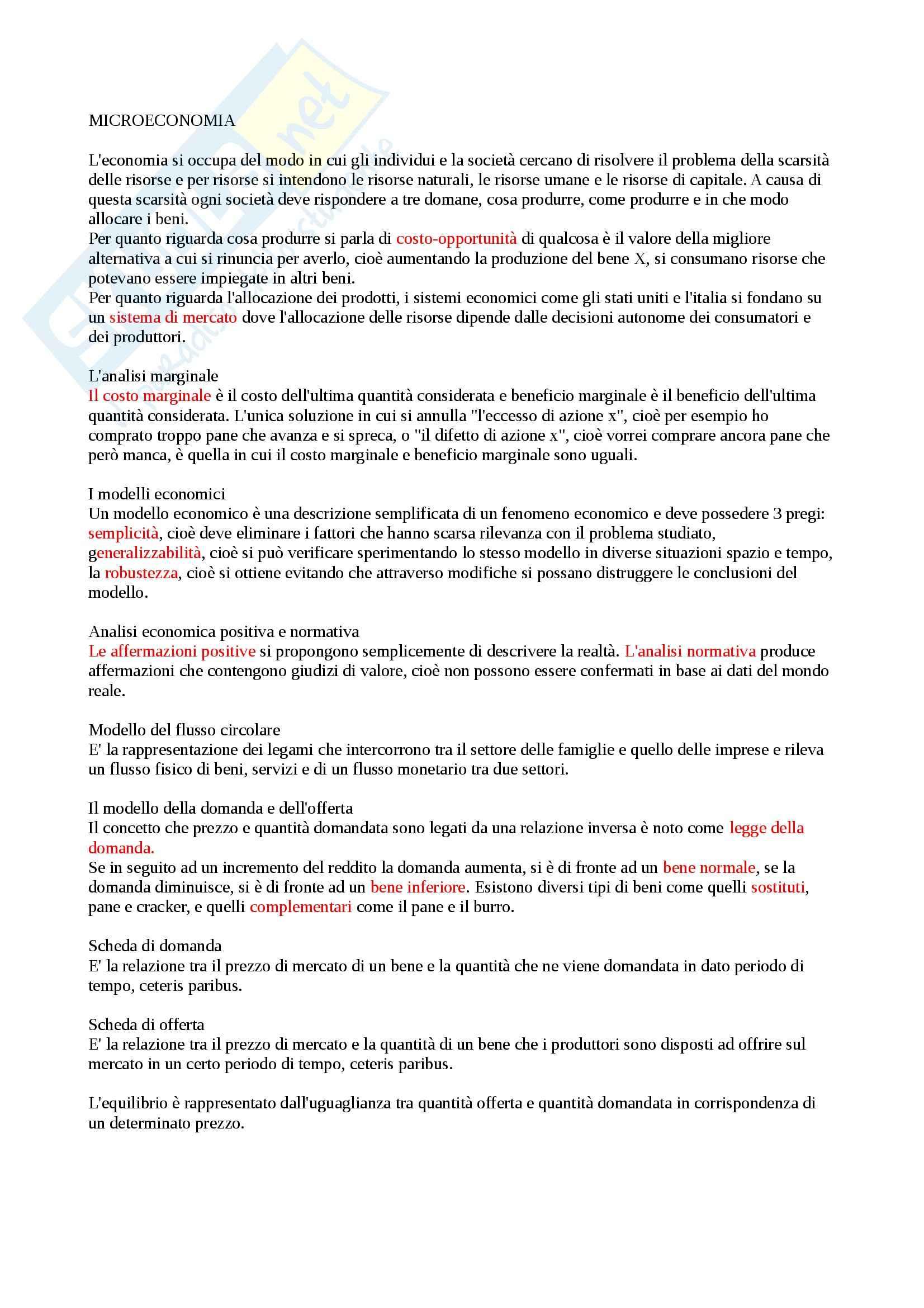 Riassunto esame Economia Politica: Microeconomia, prof. Beltrametti