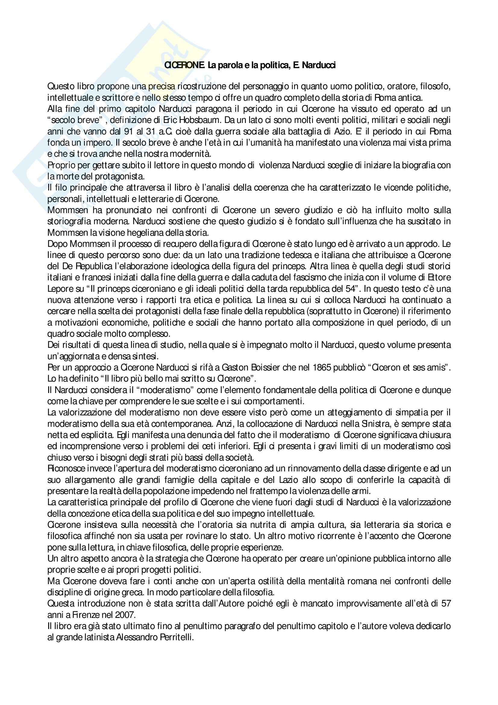 Riassunto esame Storia romana, prof. Segenni, libro consigliato Cicerone. La parola e la politica, Narducci