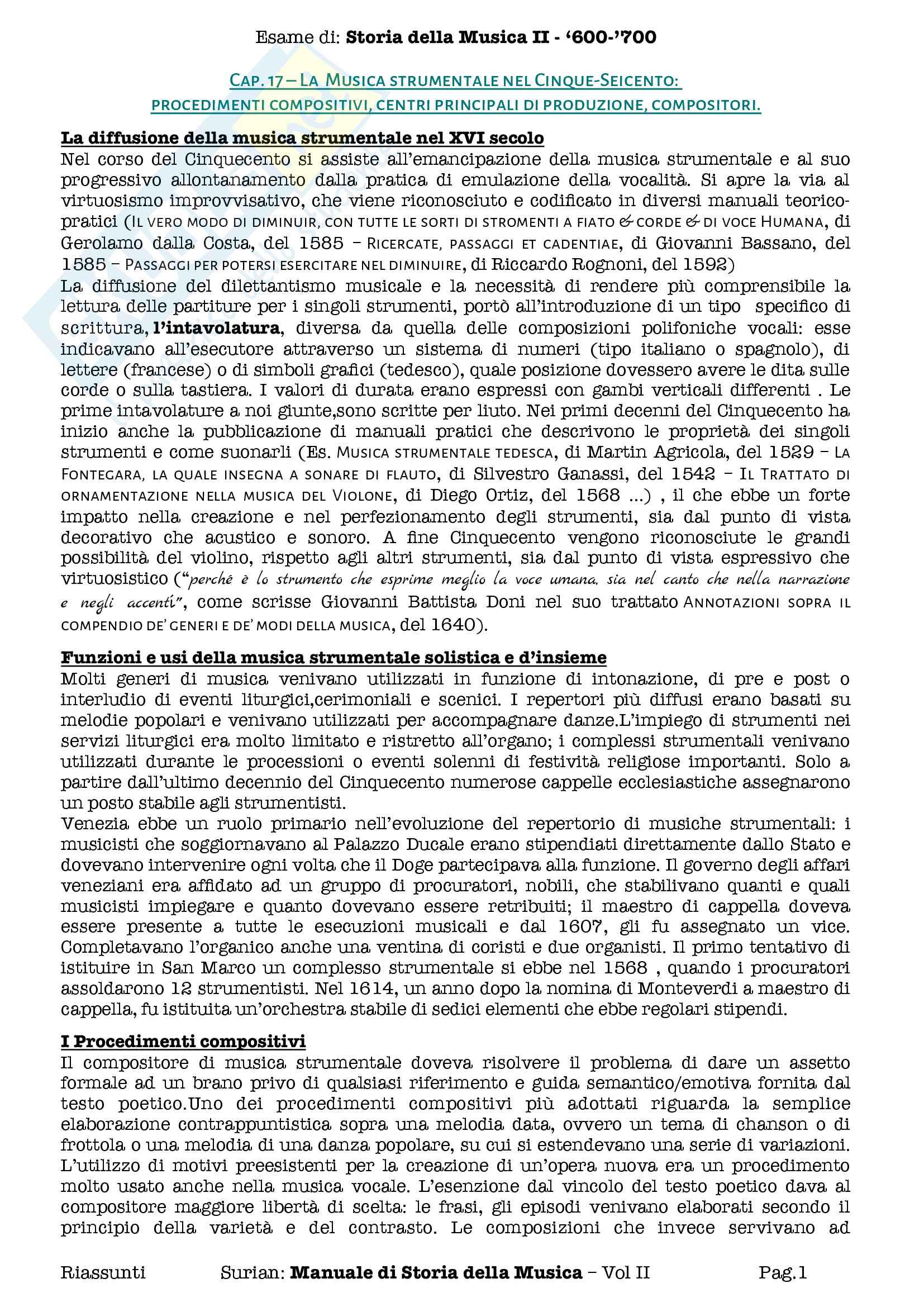 Riassunti esame Storia della Musica II, 600 700, prof Pasquini. Libro consigliato Manuale di Storia della Musica, Surian, Vol II
