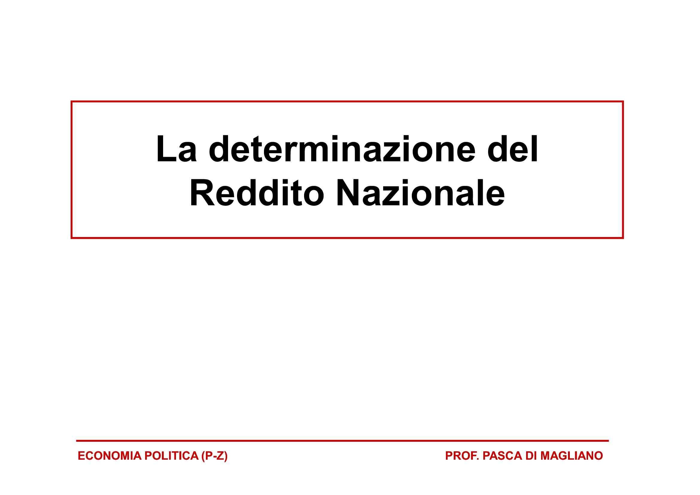 Determinazione del reddito nazionale