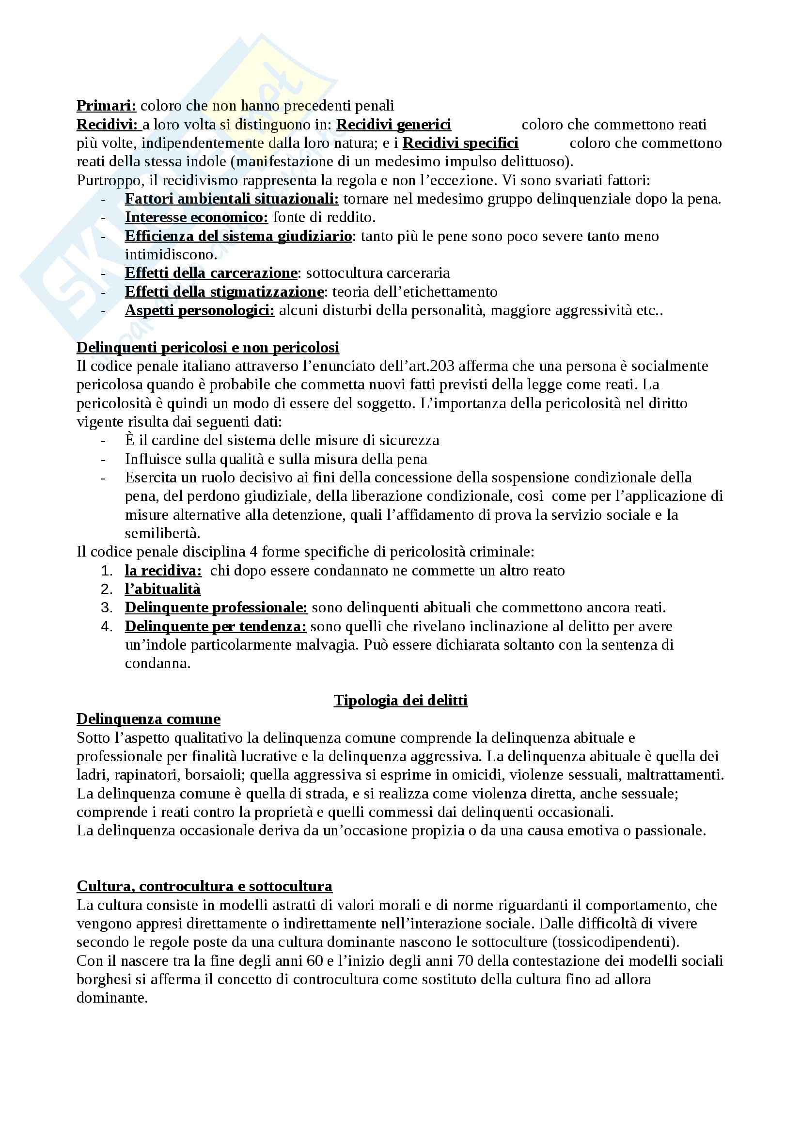 Criminologia, argomenti programma Pag. 11