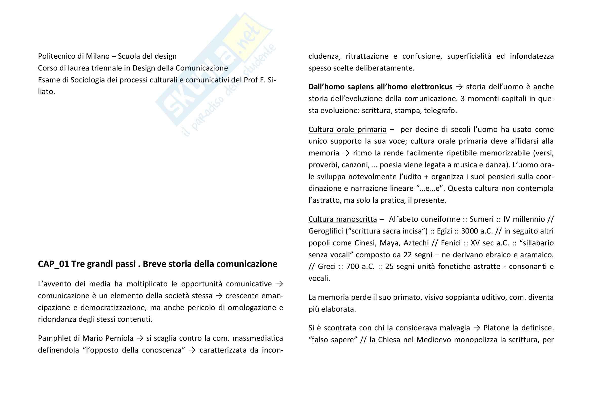 Riassunto esame Sociologia dei processi culturali e comunicativi, prof. Siliato, libro consigliato Mediamondo, Rodi
