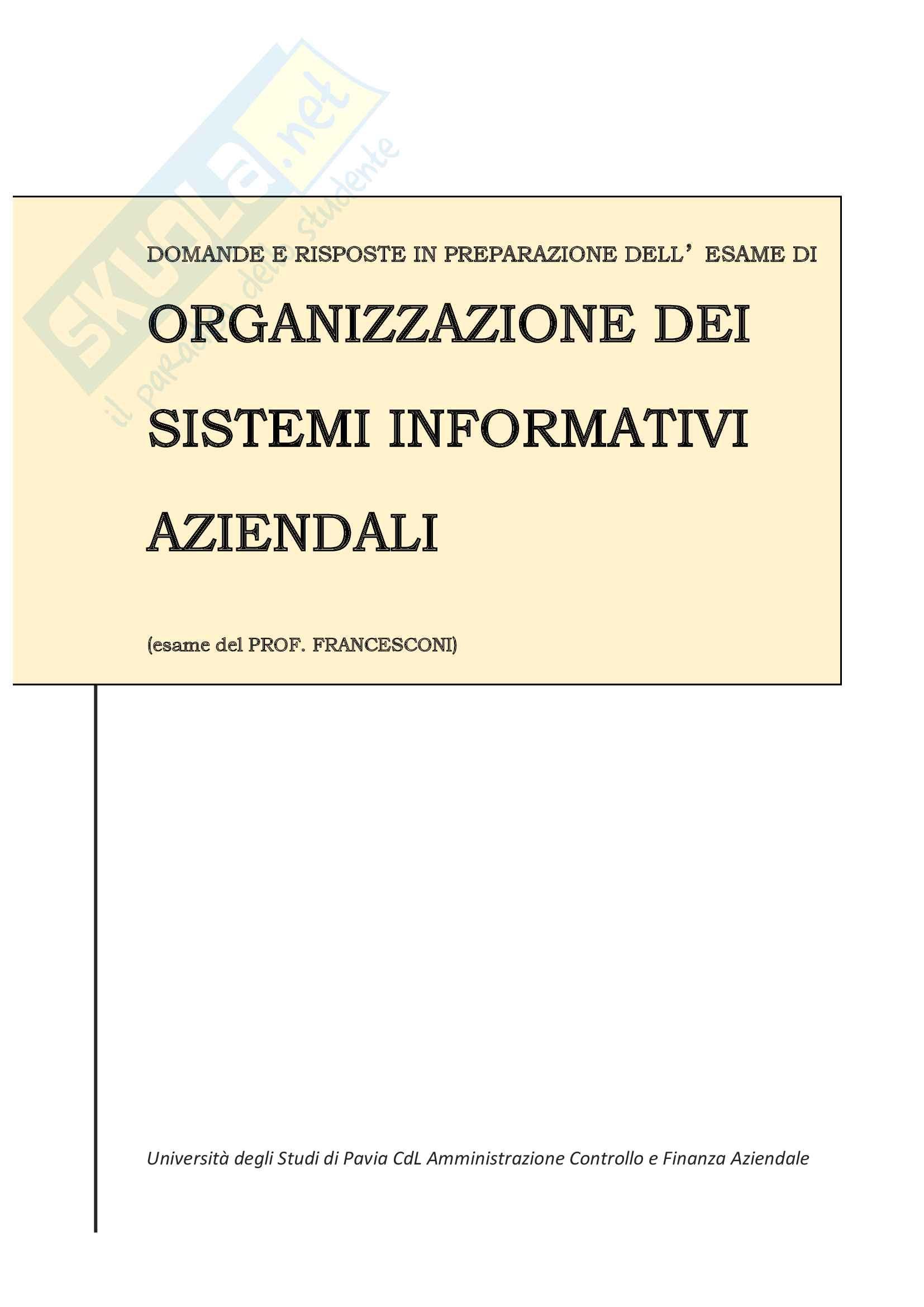 Domande e risposte di Organizzazione dei sistemi informativi aziendali