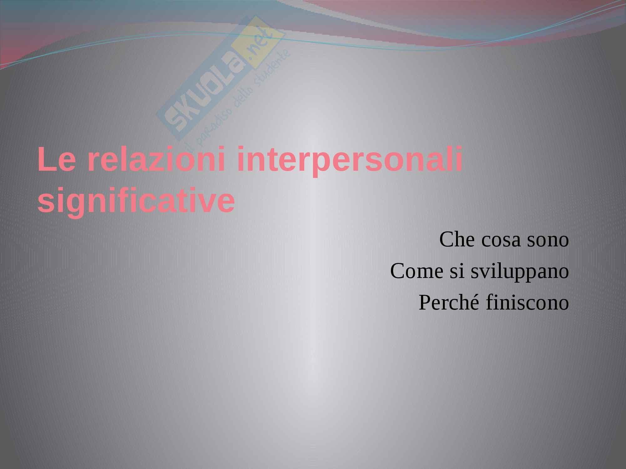 Le relazioni interpersonali significative