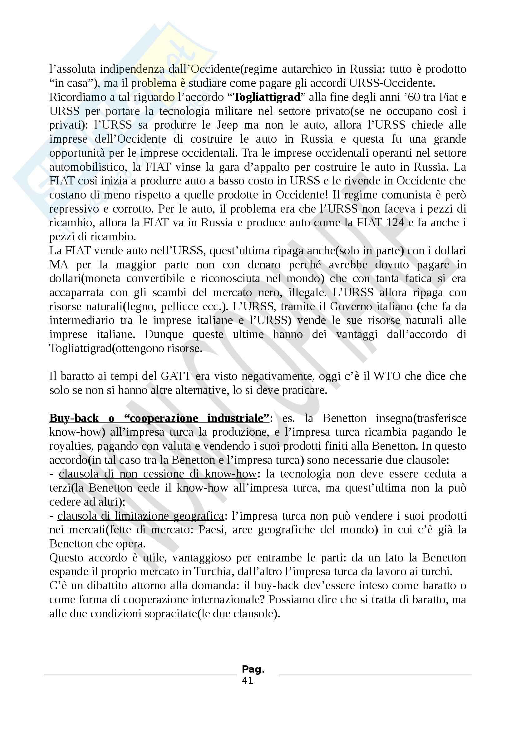 Diritto internazionale dell'economia - Prof. Porro Giuseppe - Appunti Pag. 41