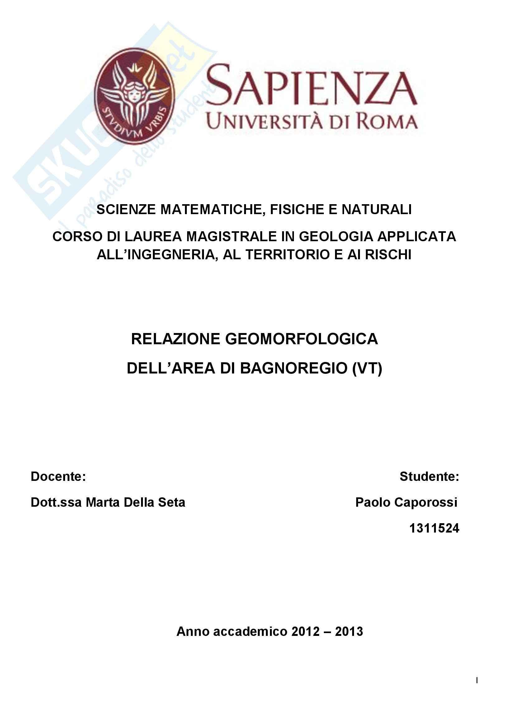 tesi M. Della Seta Rilevamento geomorfologico